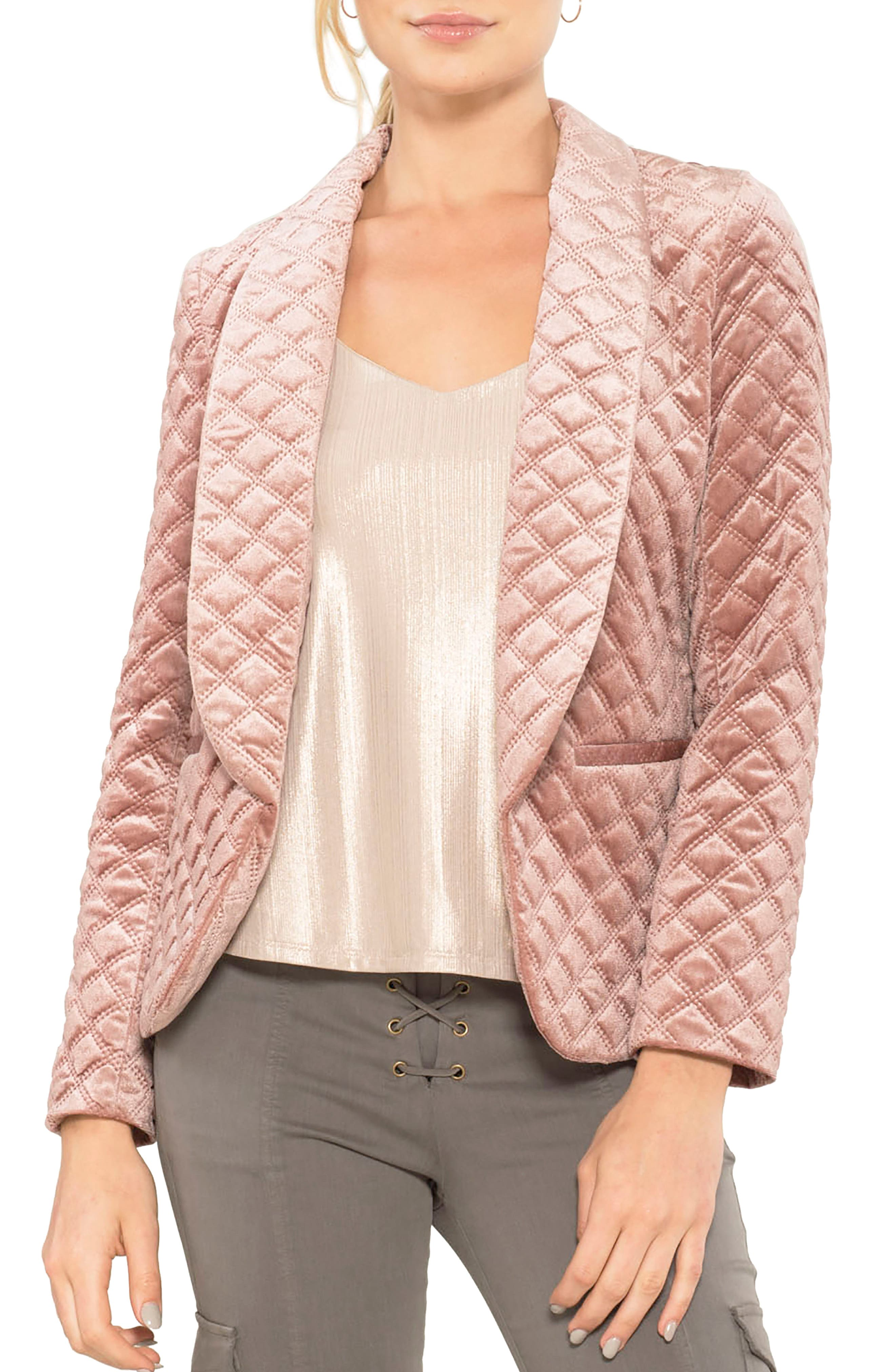 Quilted Blazer,                         Main,                         color, Rose