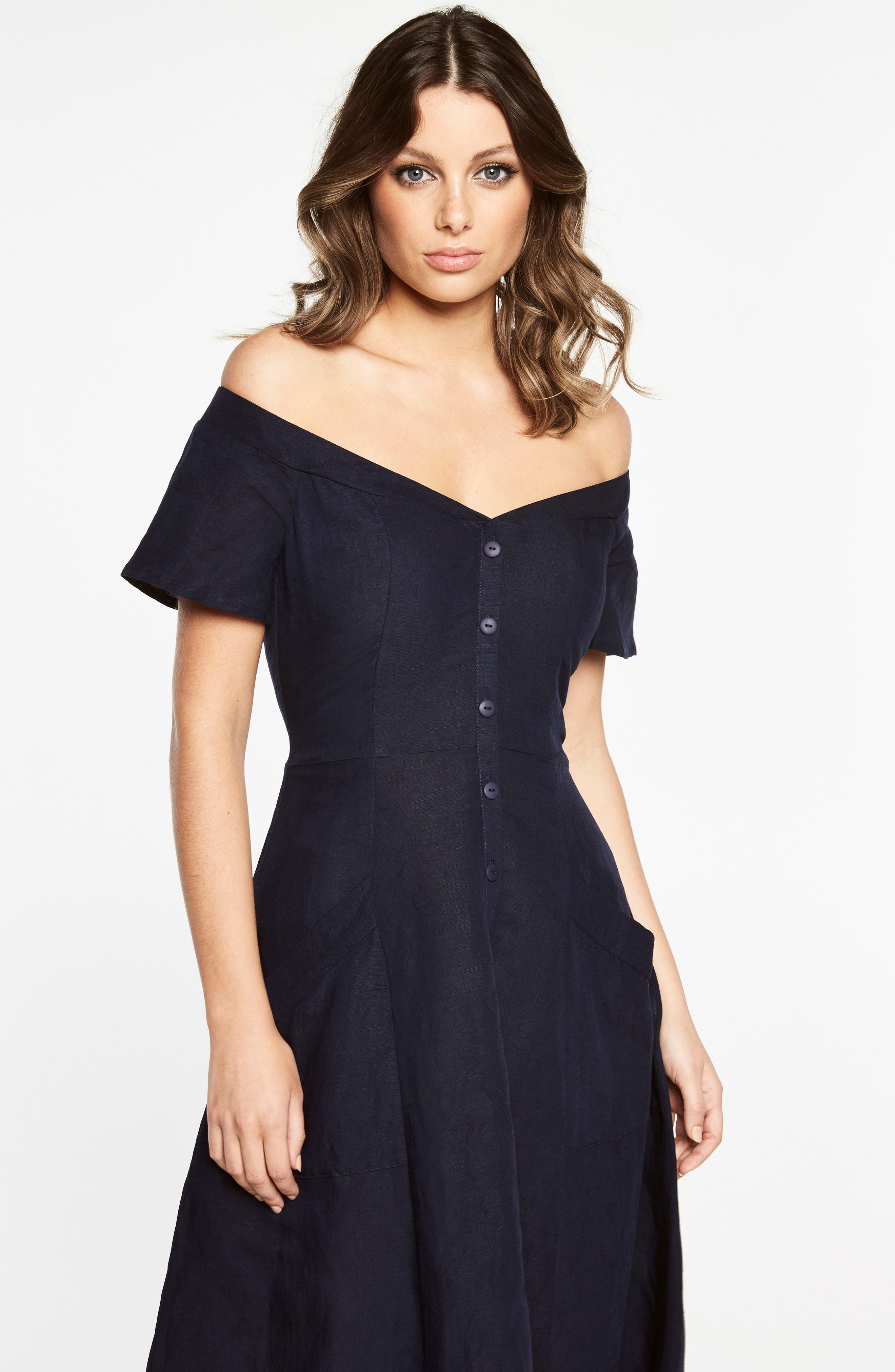 Ophelia Off the Shoulder Dress,                             Alternate thumbnail 5, color,                             Navy