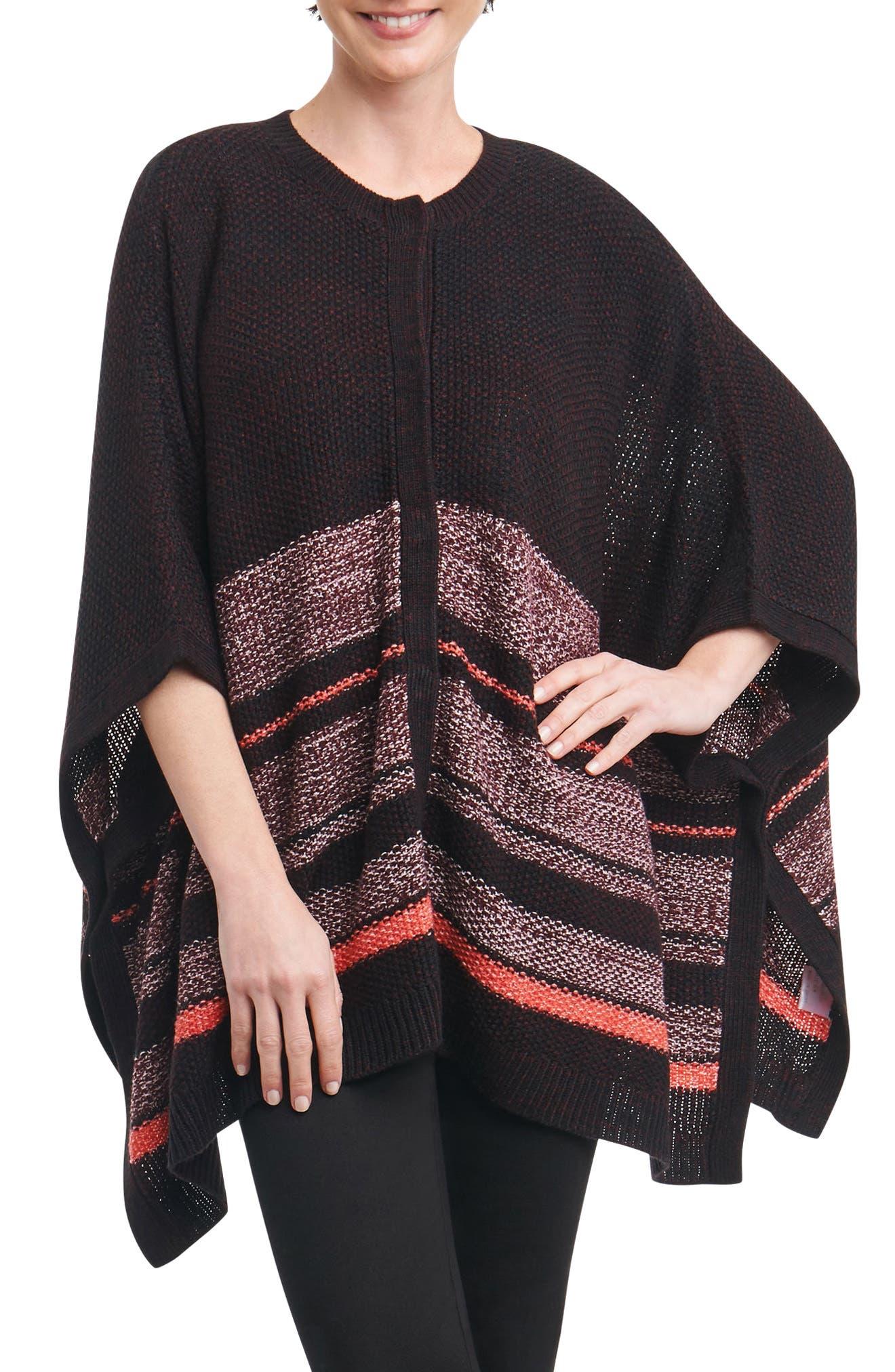 Alternate Image 1 Selected - Foxcroft Adeline Stripe Poncho (Plus Size)