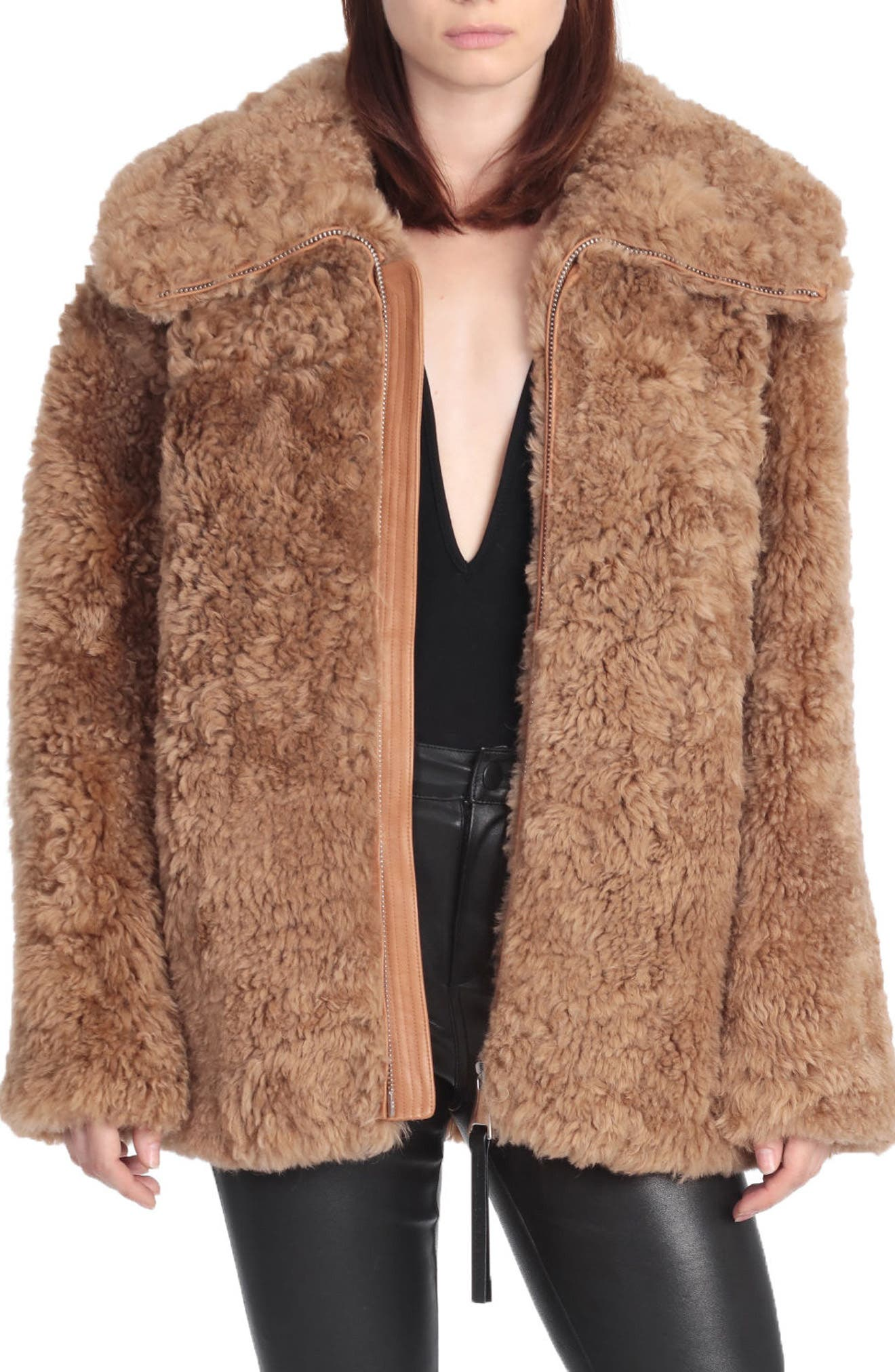 BAGATELLE.CITY The Teddy Genuine Lamb Shearling Coat,                             Main thumbnail 1, color,                             Camel