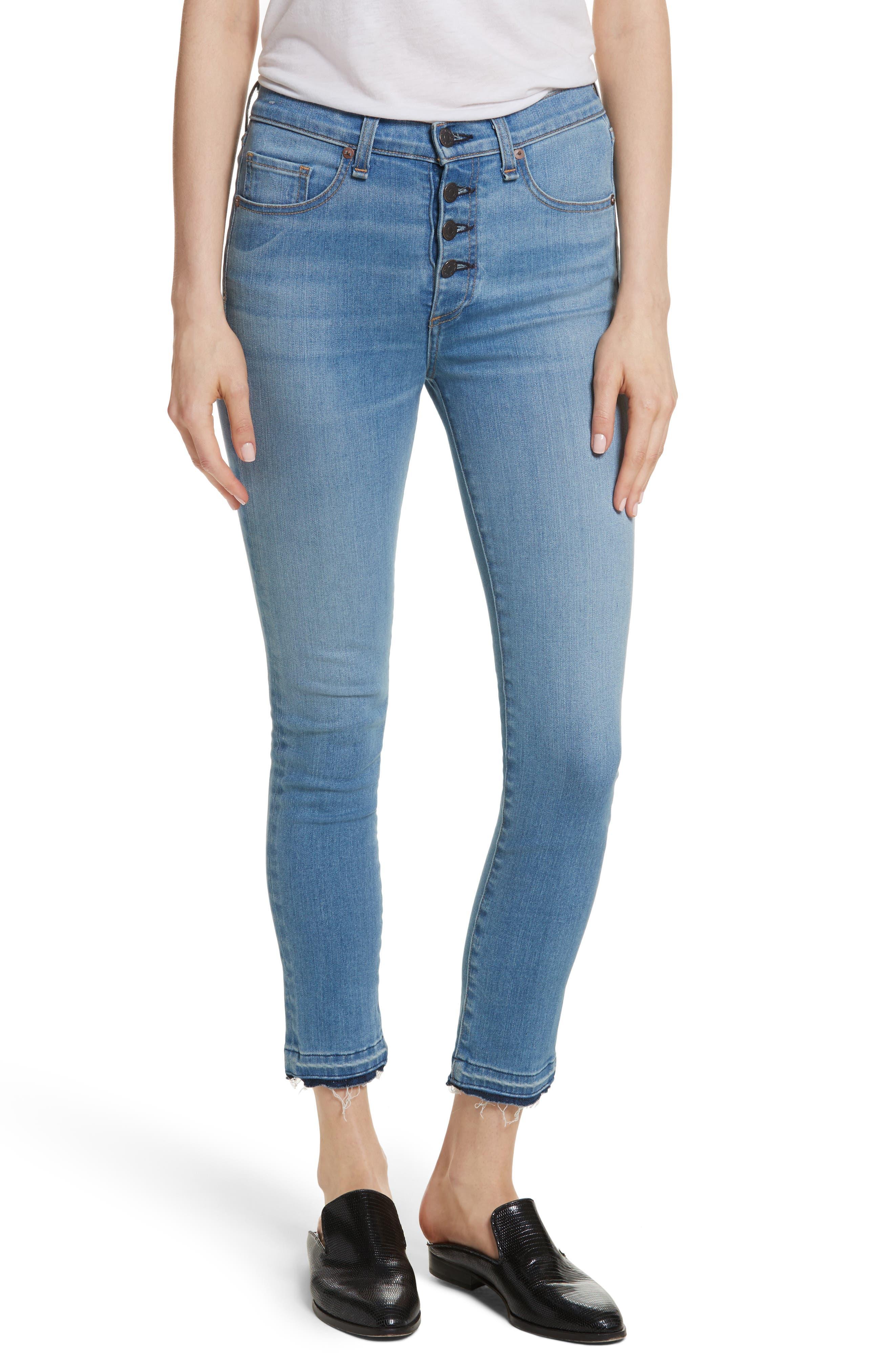 Debbie High Waist Fray Hem Jeans,                             Main thumbnail 1, color,                             Retro Blue