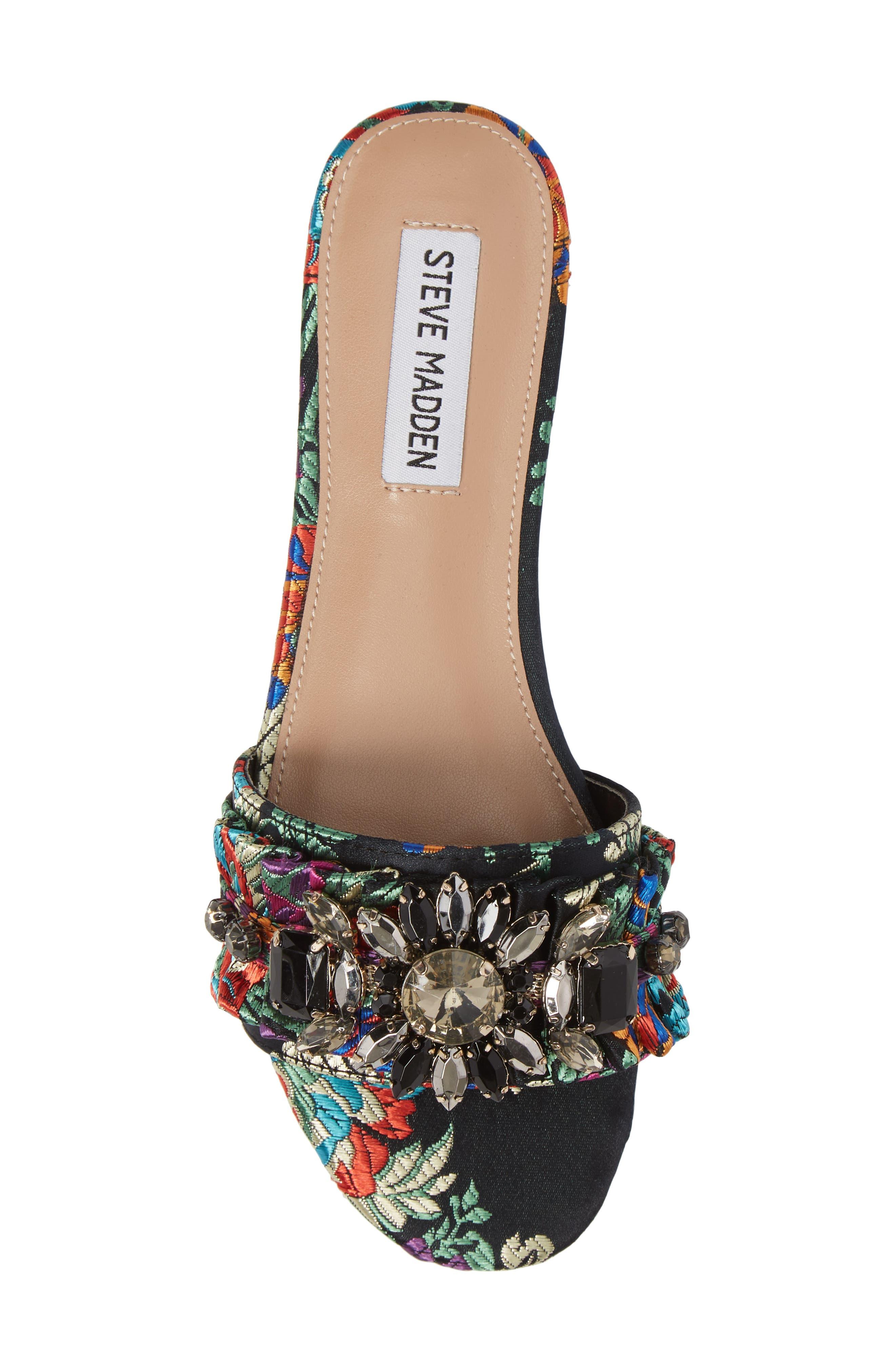 Pomona Crystal Embellished Slide Sandal,                             Alternate thumbnail 5, color,                             Black Multi