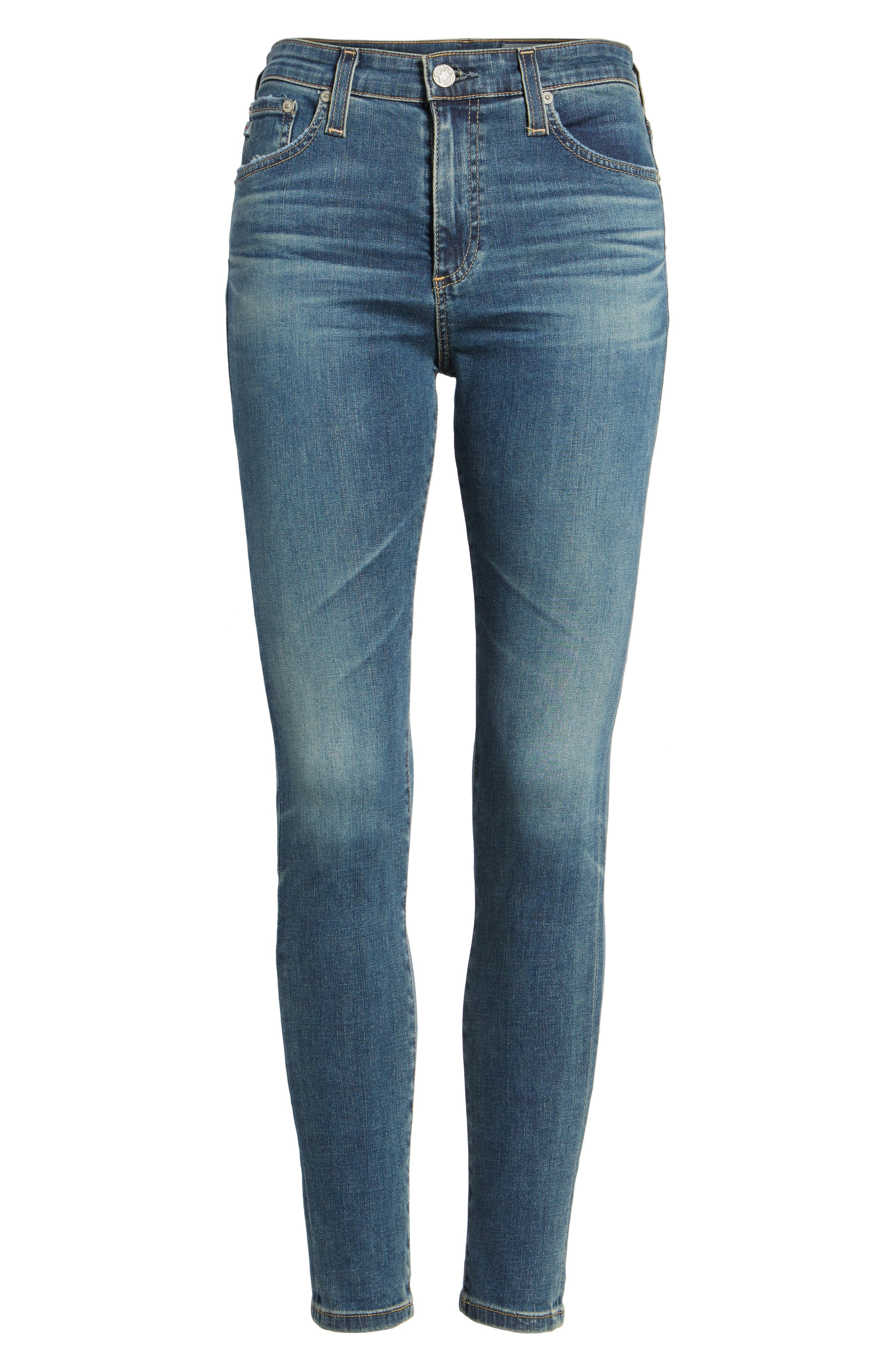 Alternate Image 5  - AG The Farrah High Waist Ankle Skinny Jeans (10 Years Brewed)