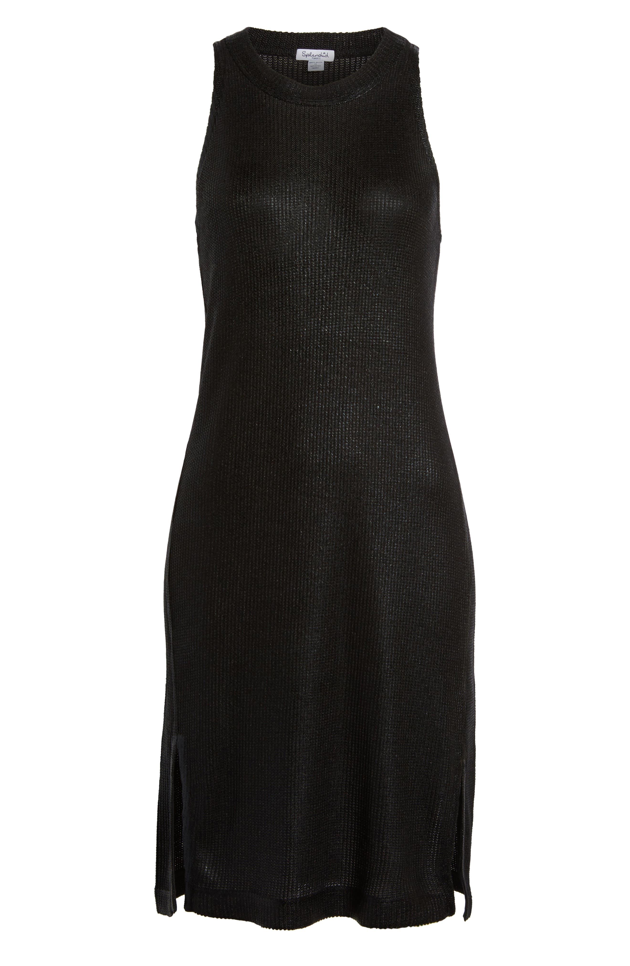 Metallic Coated Dress,                             Alternate thumbnail 6, color,                             Black