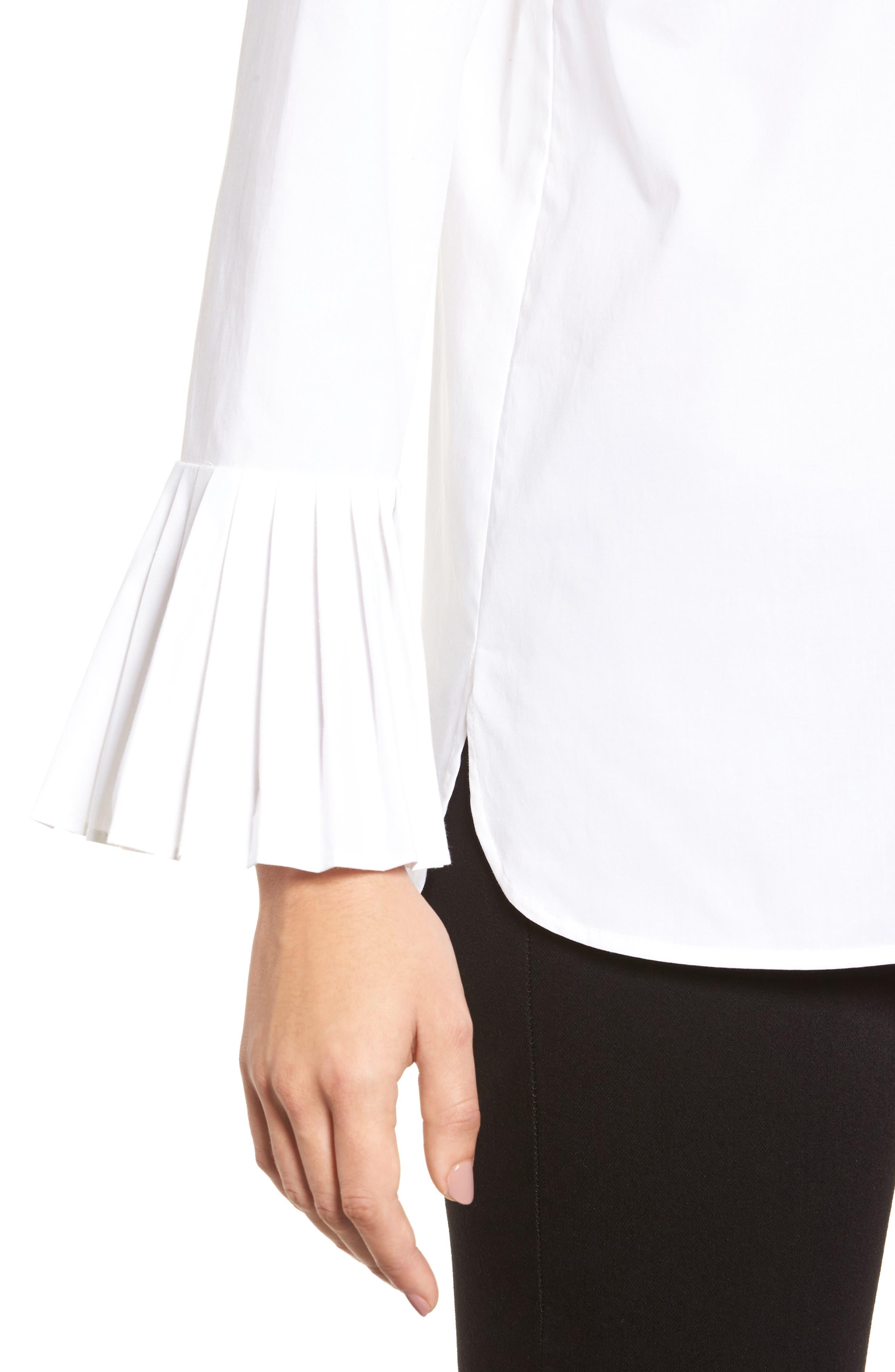 Alternate Image 4  - Chaus Pleat Sleeve Shirttail Blouse
