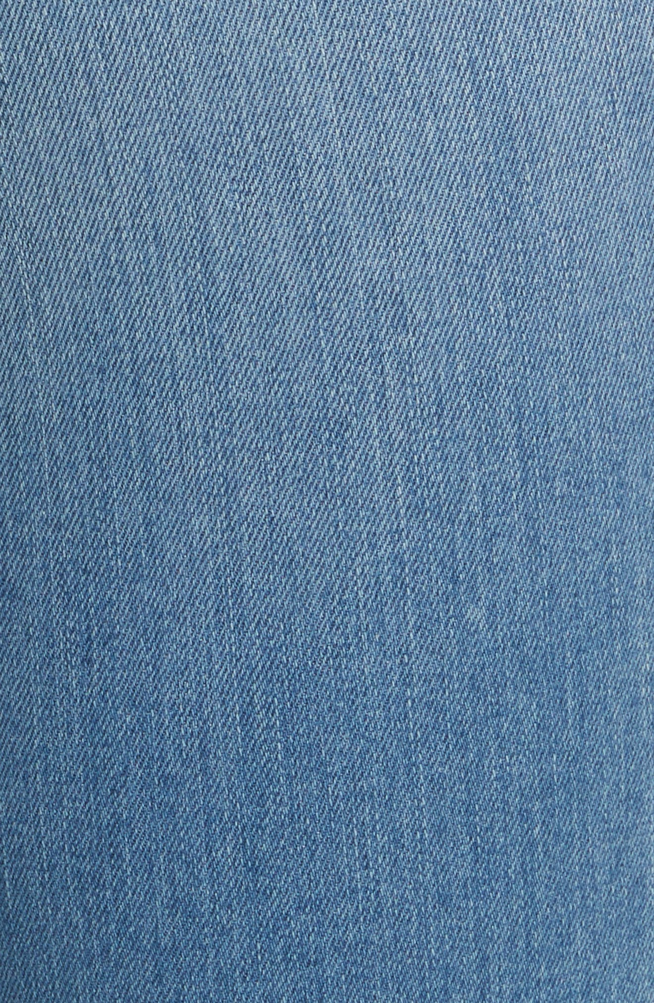 Debbie High Waist Fray Hem Jeans,                             Alternate thumbnail 5, color,                             Retro Blue