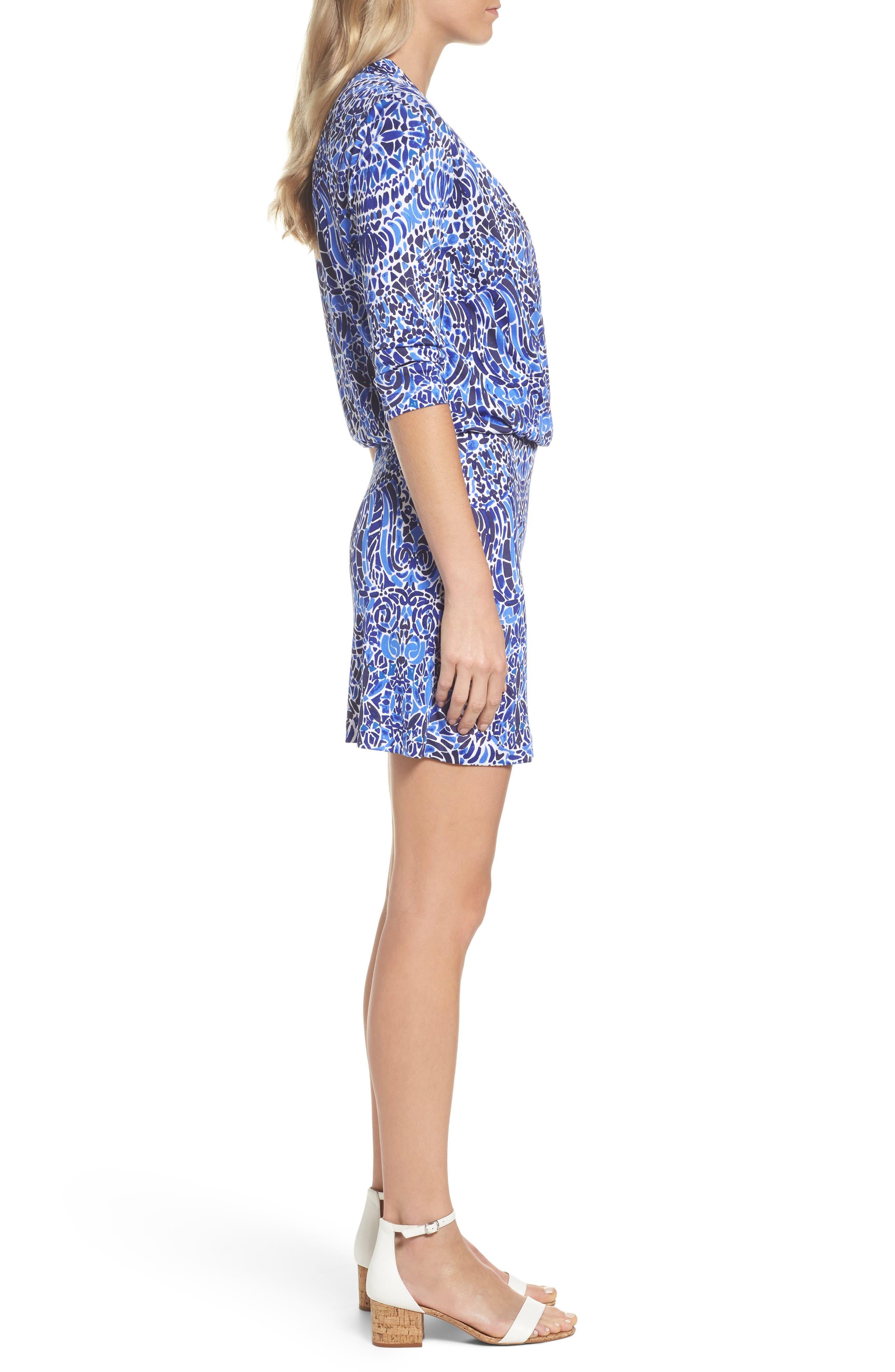 Felizia Silk Dress,                             Alternate thumbnail 3, color,                             Bright Navy Taverna Tile