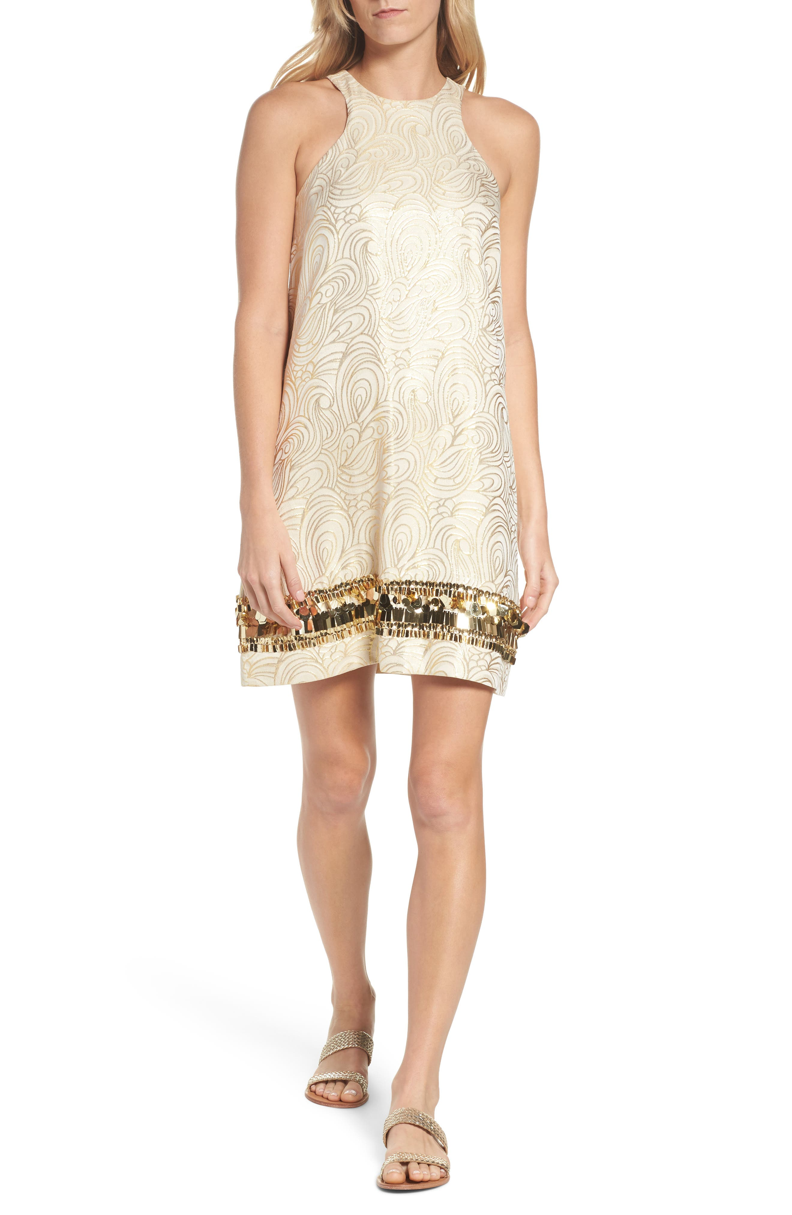 Diedra Shift Dress,                             Main thumbnail 1, color,                             Gold Tidal Wave Jacquard