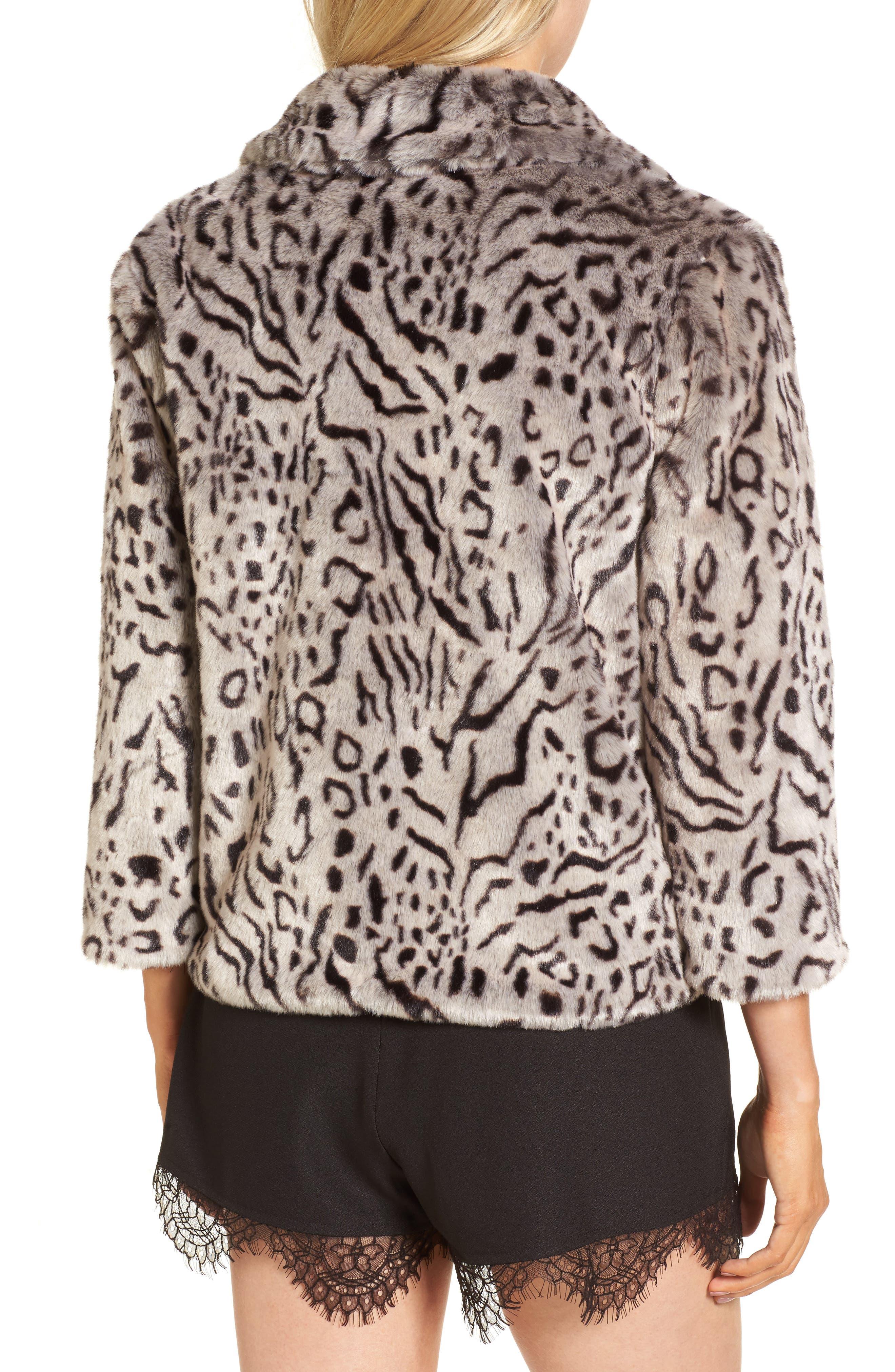 Belle Faux Fur Jacket,                             Alternate thumbnail 2, color,                             Snow Leopard