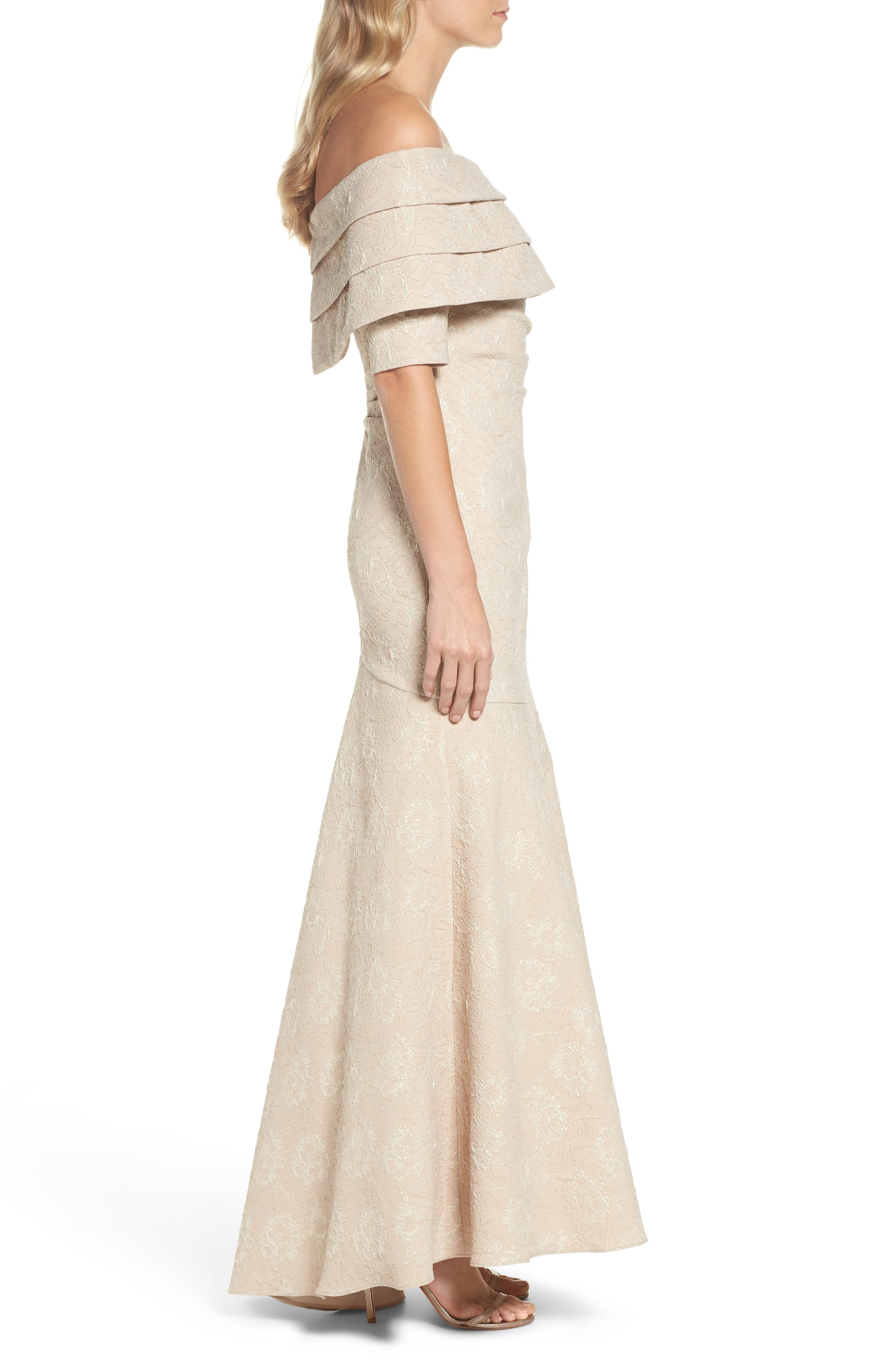 Brocade Off the Shoulder Trumpet Gown,                             Alternate thumbnail 3, color,                             Champagne