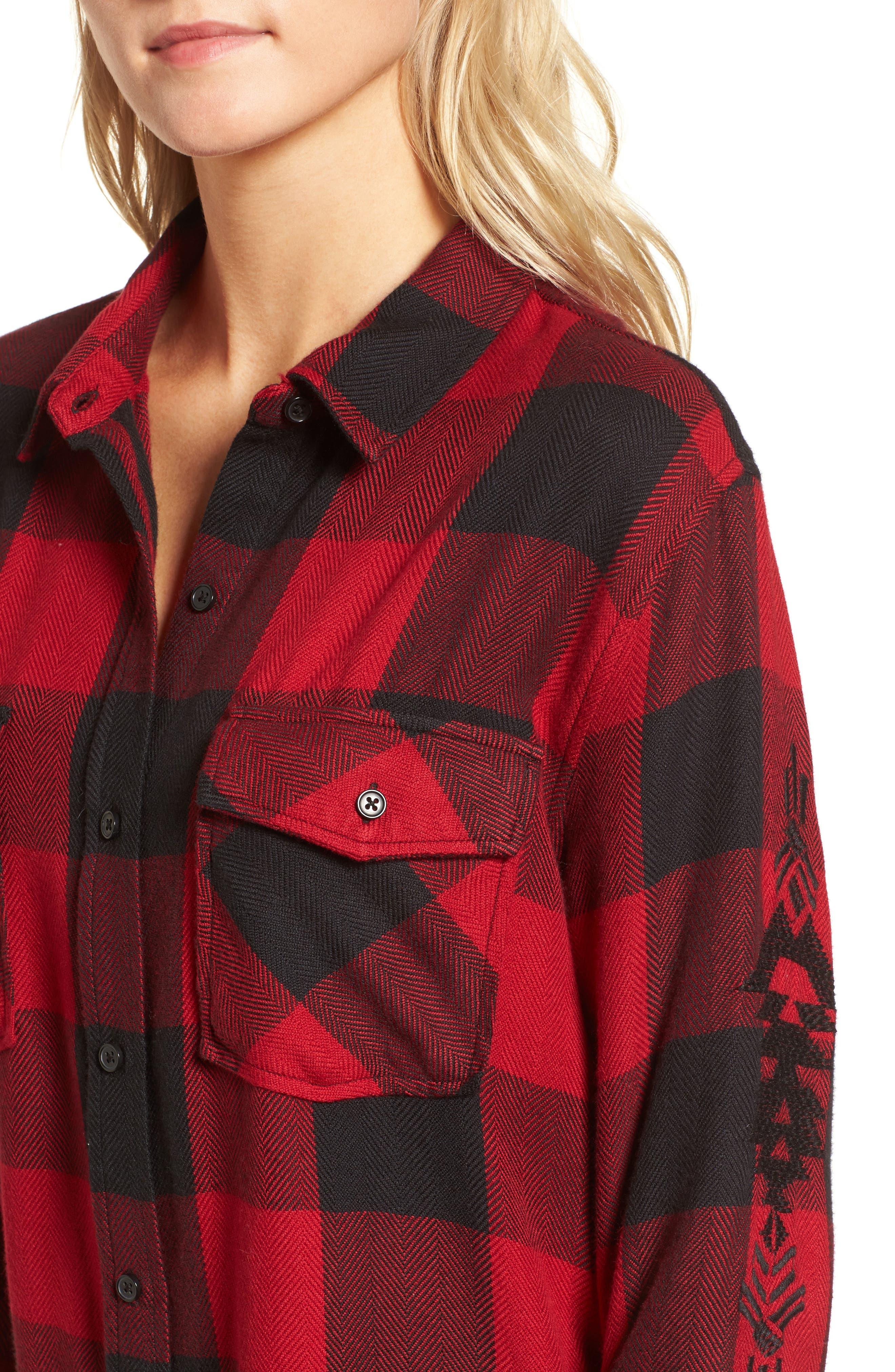 Larsson Embroidered Flannel Shirt,                             Alternate thumbnail 5, color,                             Crimson Jet