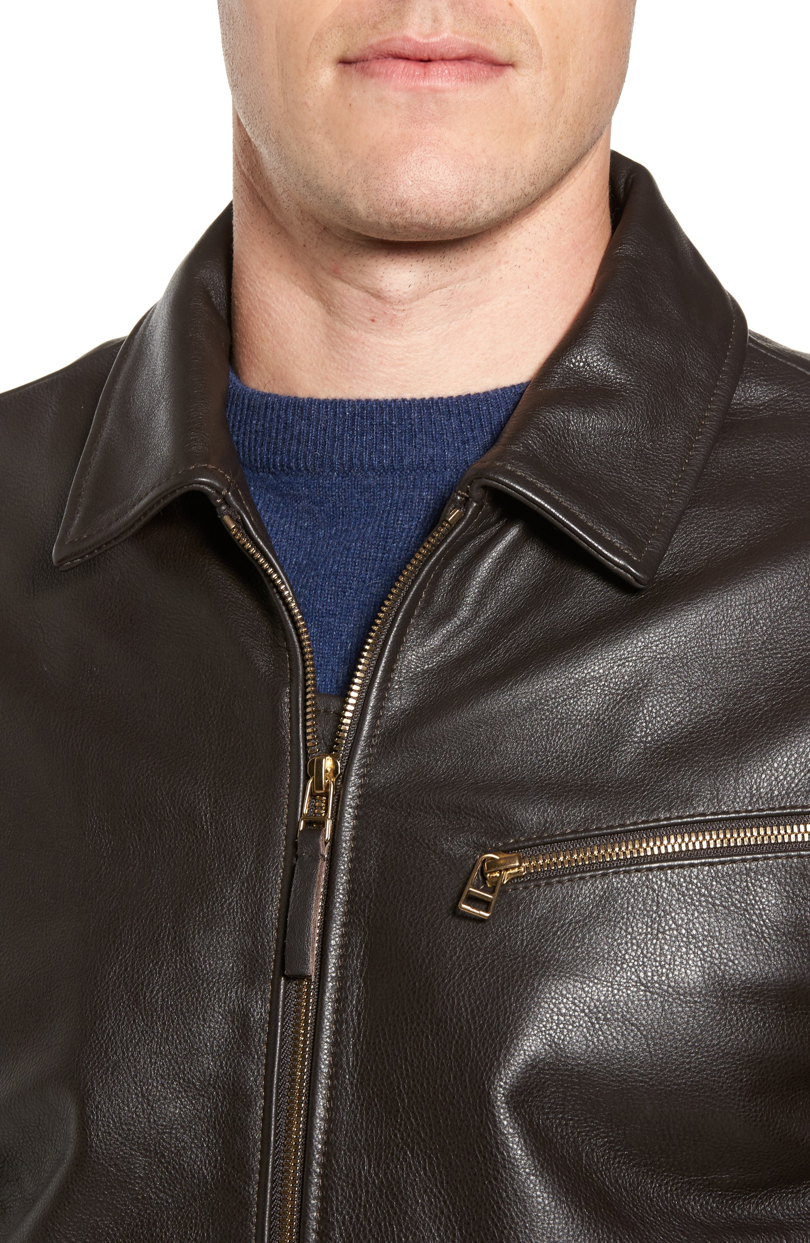 Year Round Leather Jacket,                             Alternate thumbnail 4, color,                             Espresso Brown