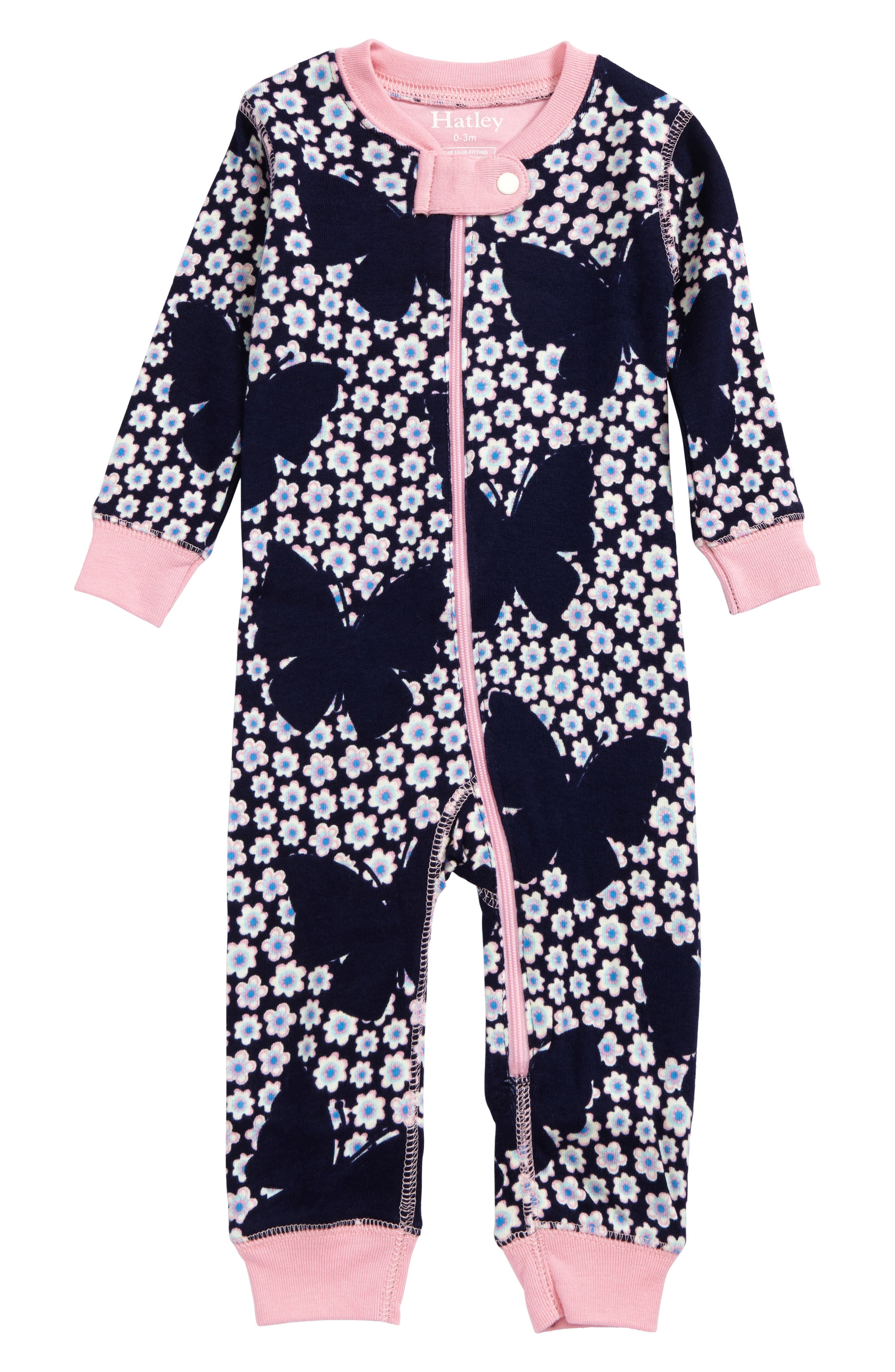 Hatley Butterflies & Buds Waffle Knit Organic Cotton Fitted One-Piece Pajamas (Baby Girls)