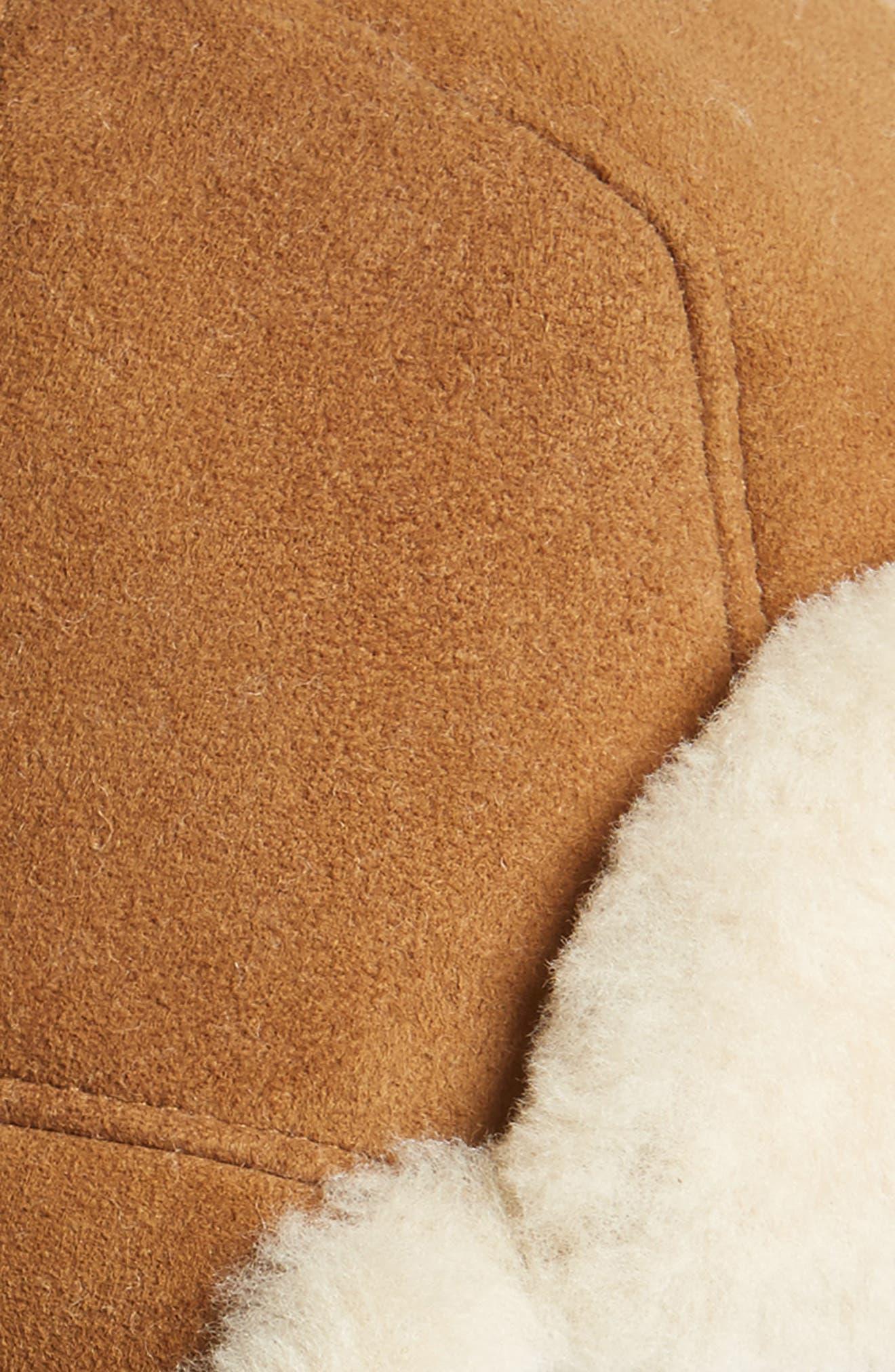 Genuine Shearling Trapper Hat,                             Alternate thumbnail 2, color,                             Chestnut