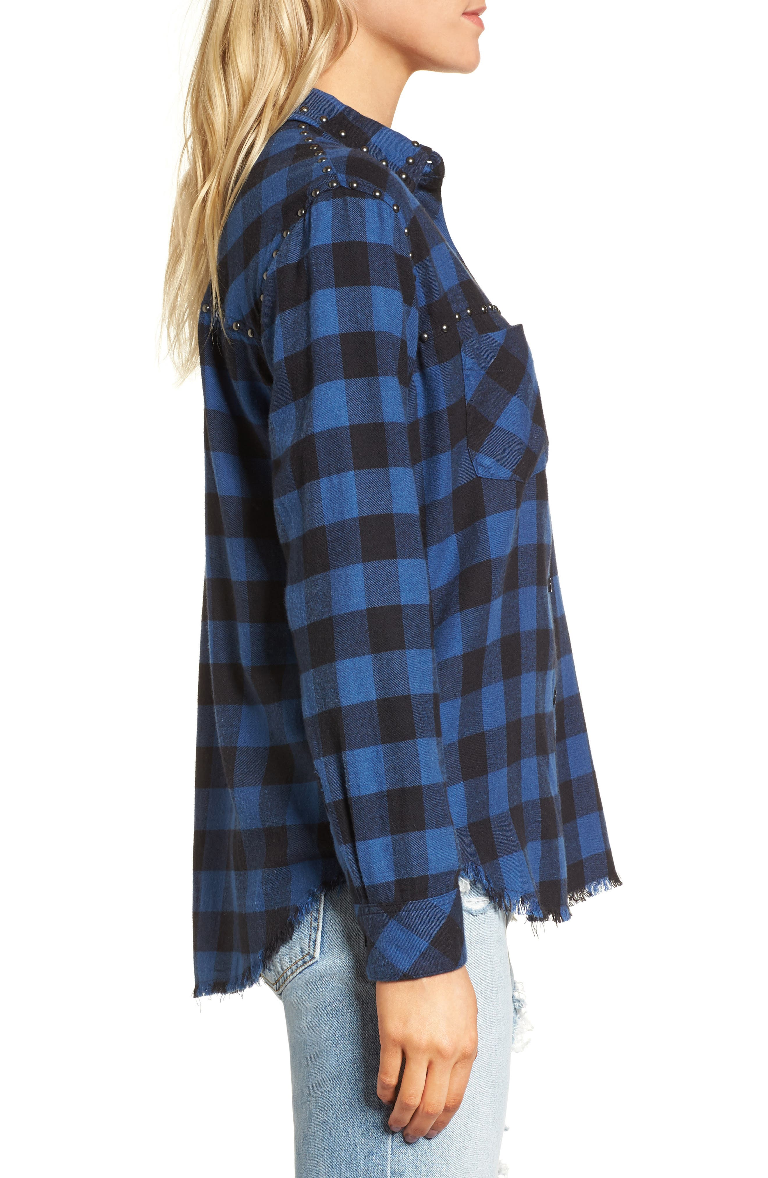 Rex Studded Flannel Shirt,                             Alternate thumbnail 4, color,                             Blue/ Black Check