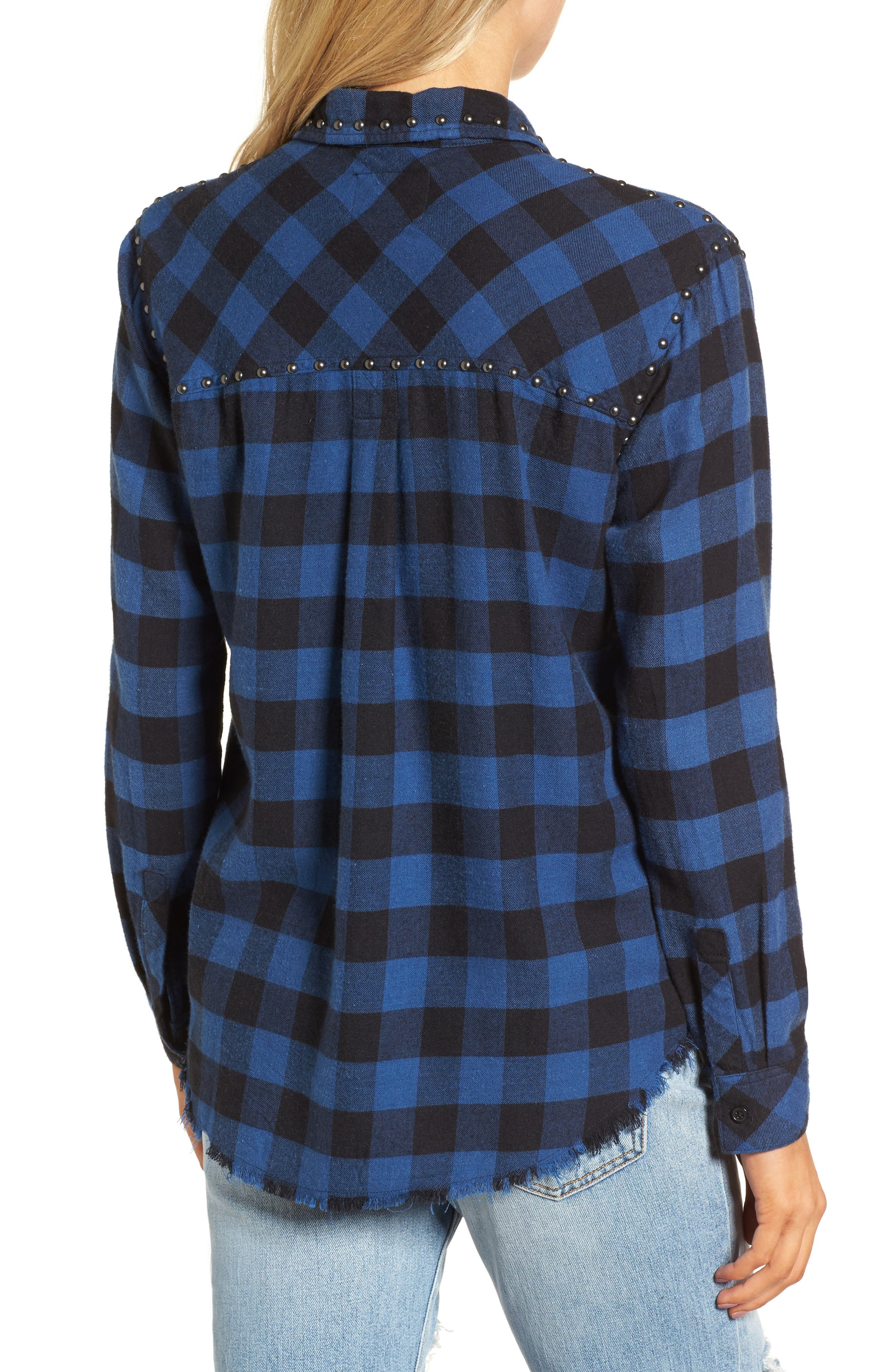 Rex Studded Flannel Shirt,                             Alternate thumbnail 3, color,                             Blue/ Black Check