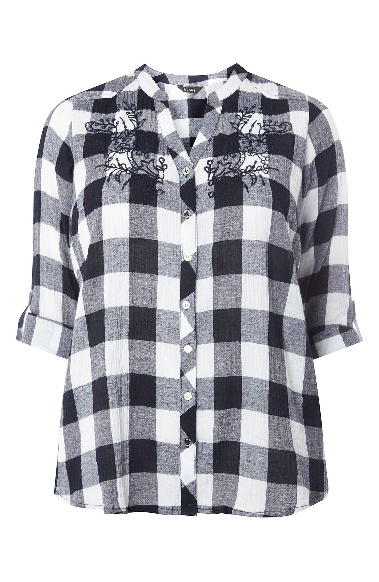 Gingham Embroidered Shirt,                             Alternate thumbnail 5, color,                             Navy/ White
