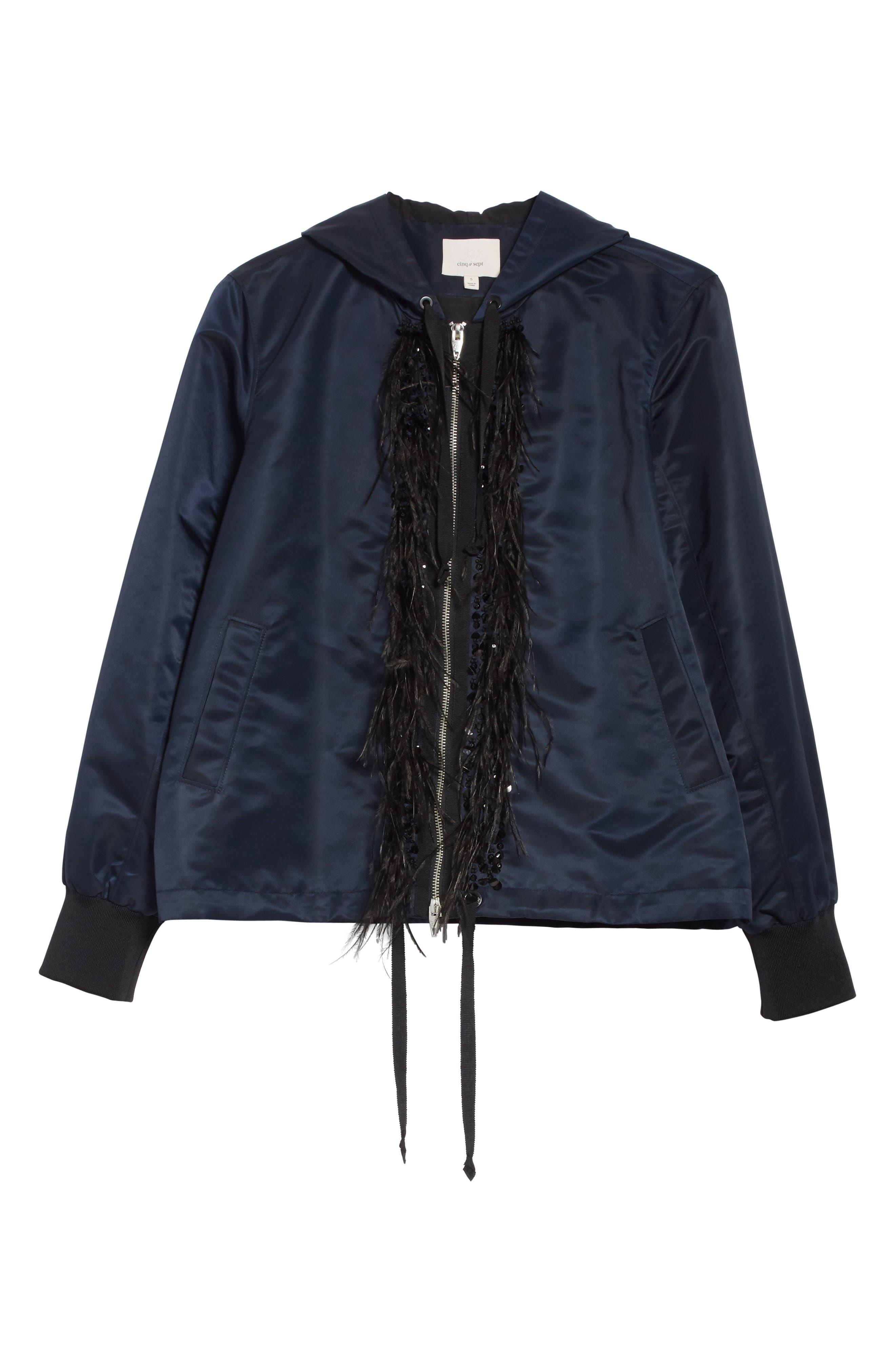 Collette Hooded Feather Trim Jacket,                             Alternate thumbnail 6, color,                             Navy/ Black