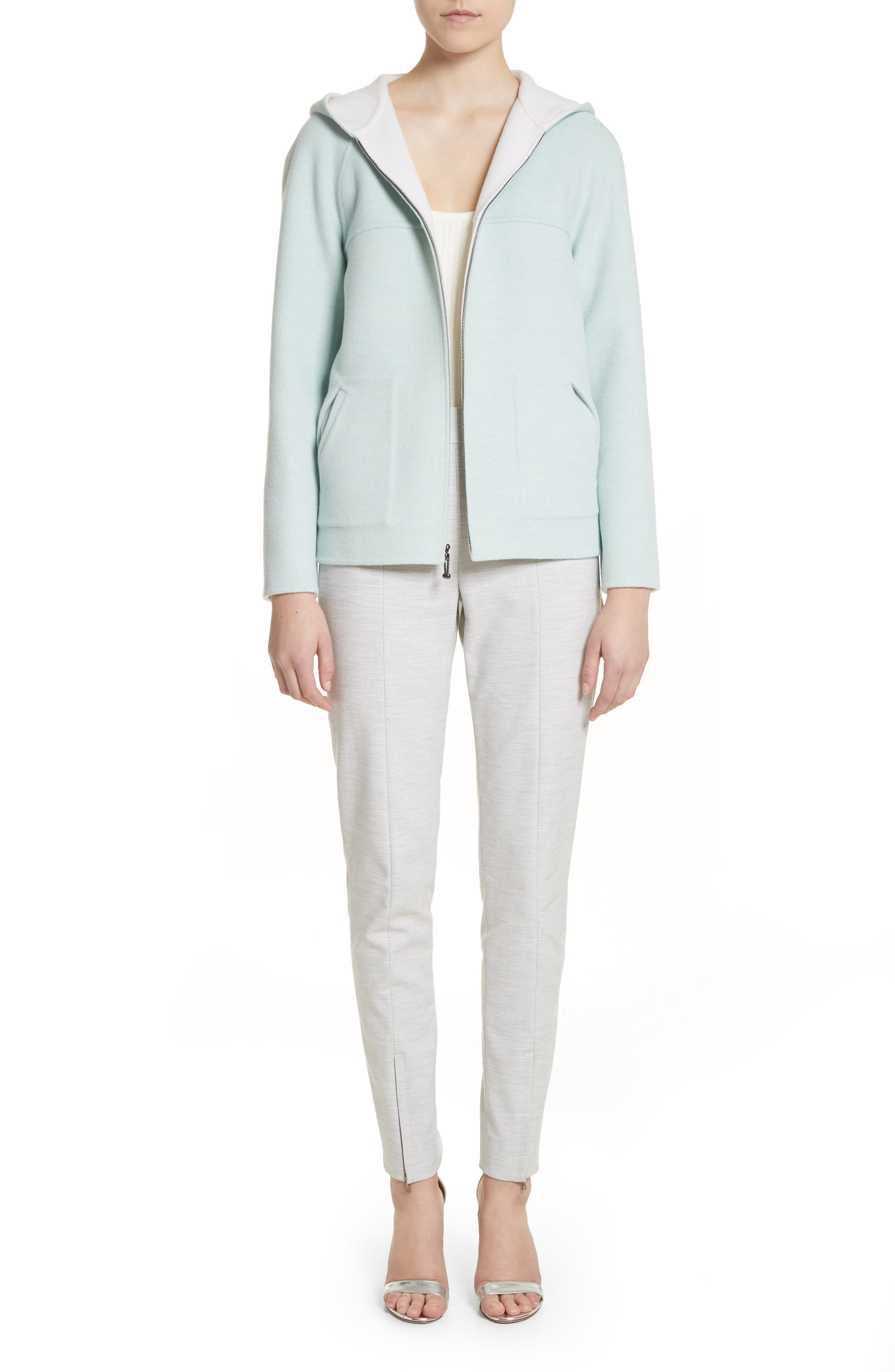 Reversible Wool & Angora Blend Sweatshirt,                             Alternate thumbnail 8, color,                             Mint/ Frost