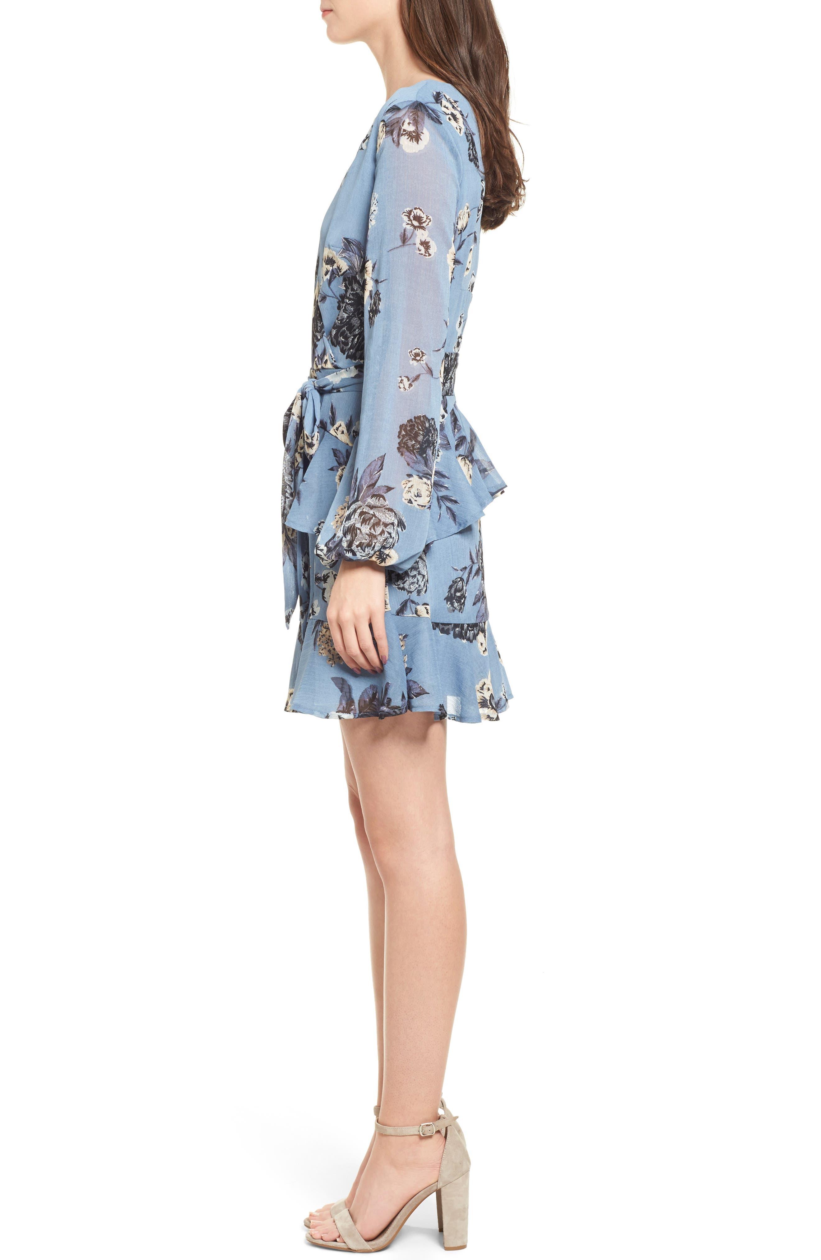 Floral Wrap Style Dress,                             Alternate thumbnail 3, color,                             Blue Print