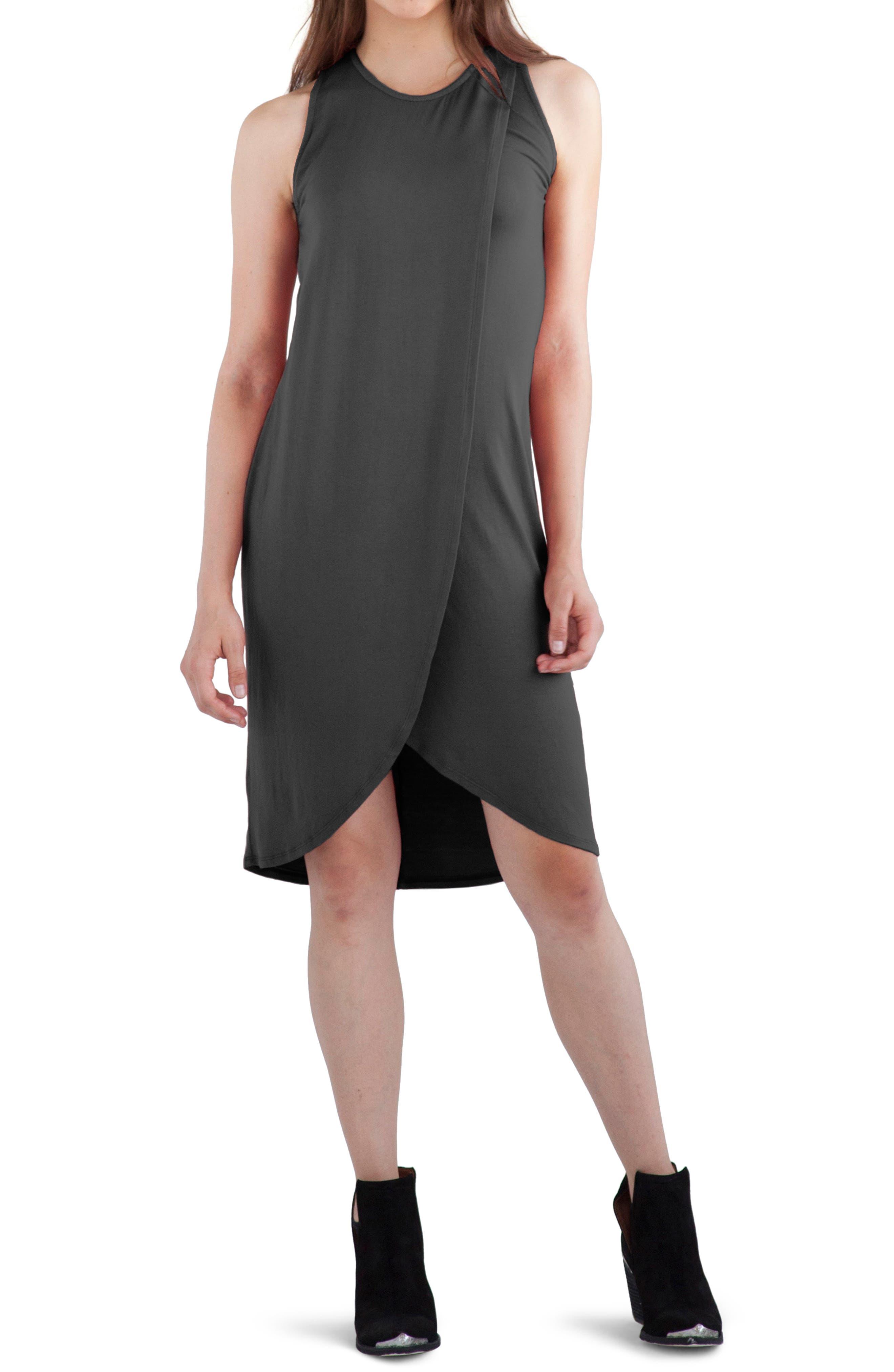 'Elba' Asymmetrical Hem Sleeveless Jersey Dress,                         Main,                         color, Raven