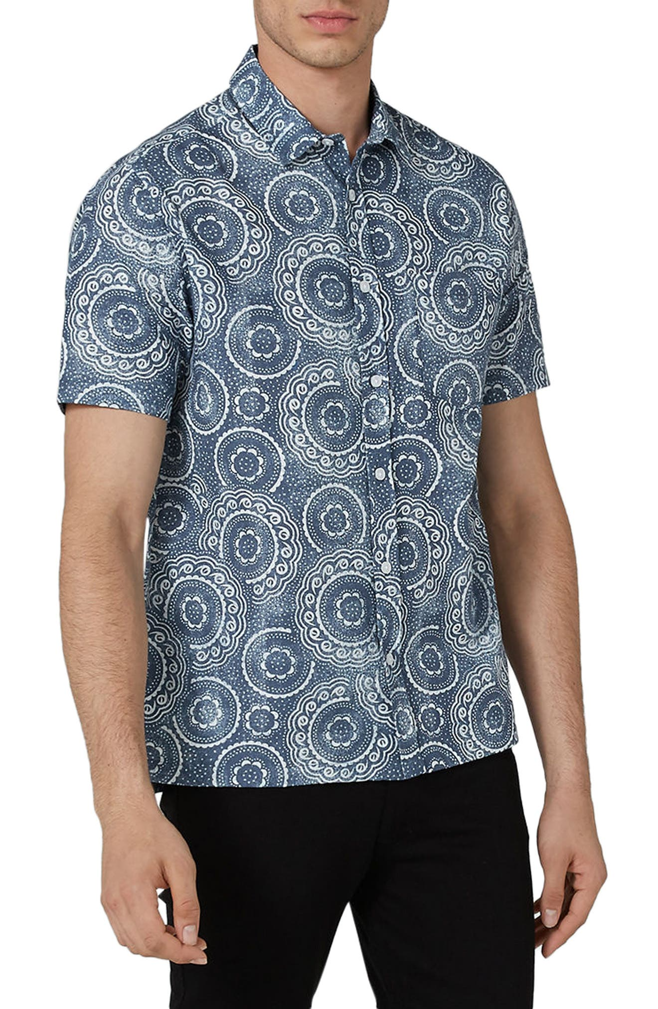 Trim Fit Circle Print Woven Shirt,                         Main,                         color, Blue Multi