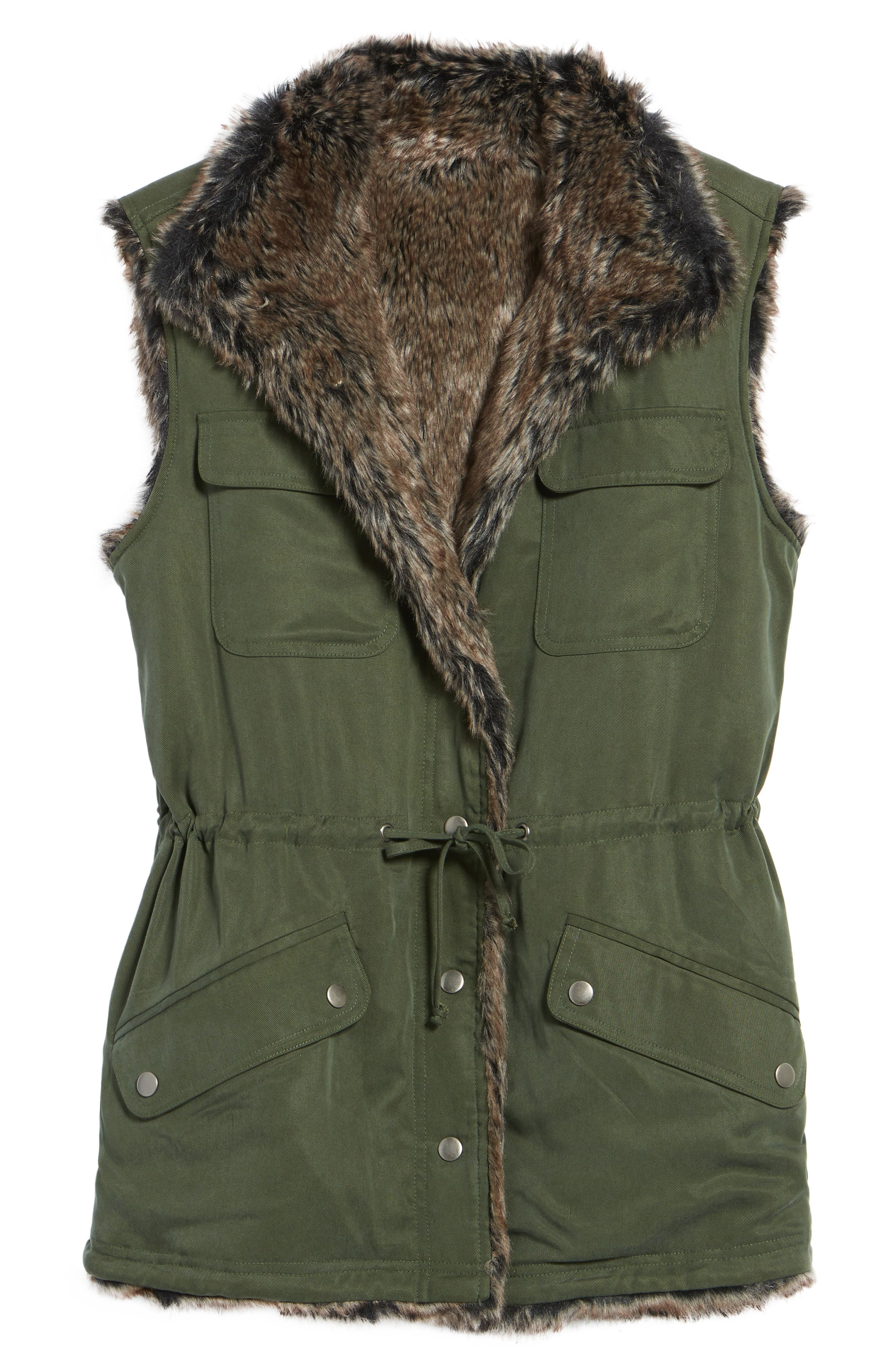 Ashling Faux Fur Lined Utility Vest,                             Alternate thumbnail 6, color,                             Army