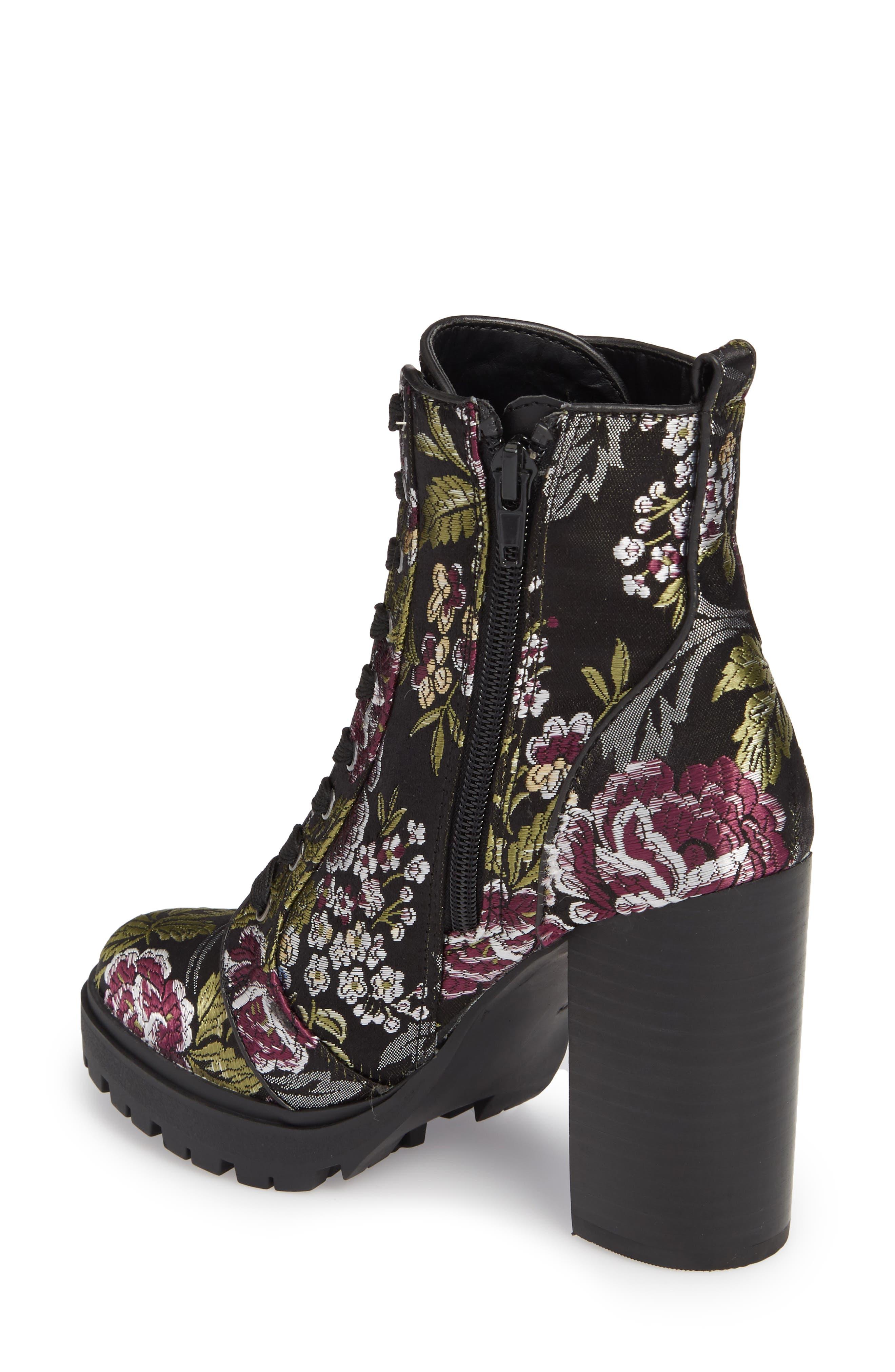 Laurie Platform Bootie,                             Alternate thumbnail 2, color,                             Black Floral Fabric