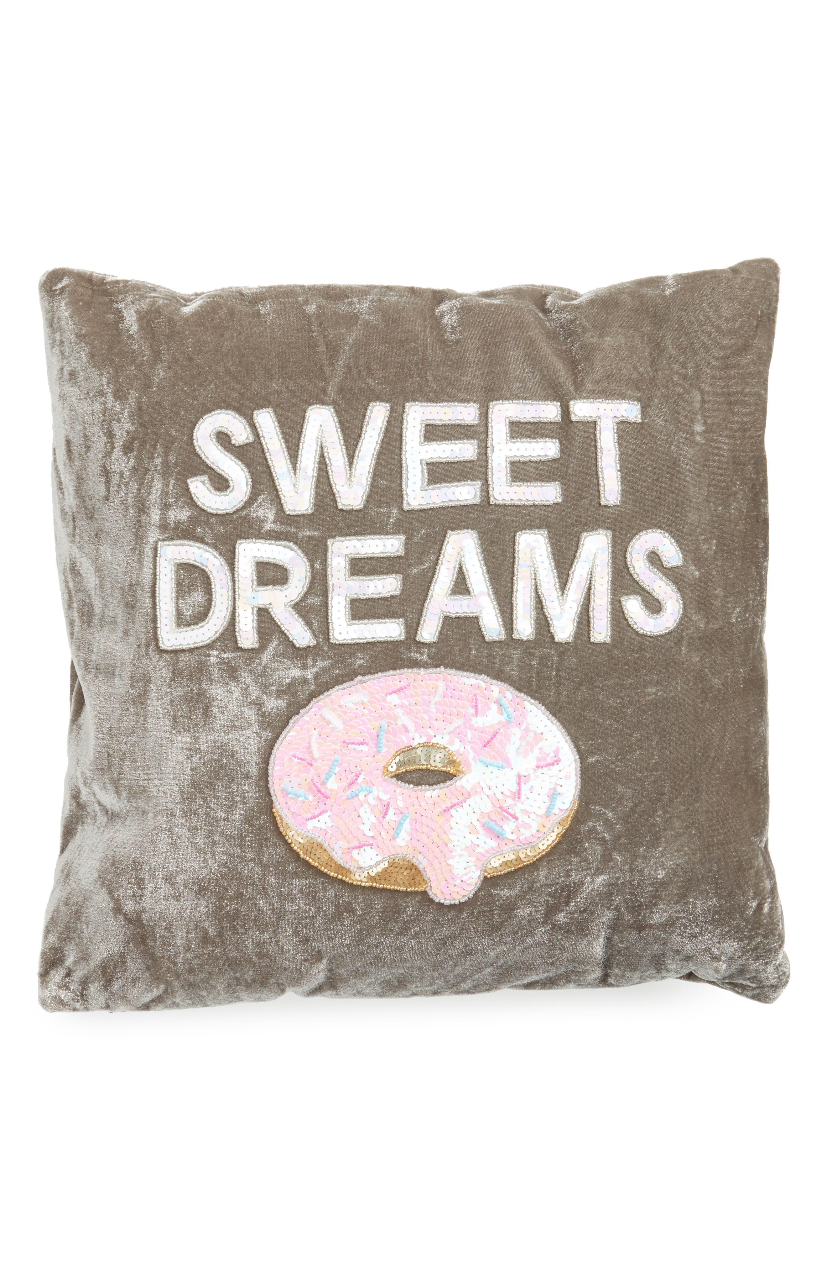 Sweet Dreams Velvet Pillow,                         Main,                         color, Grey