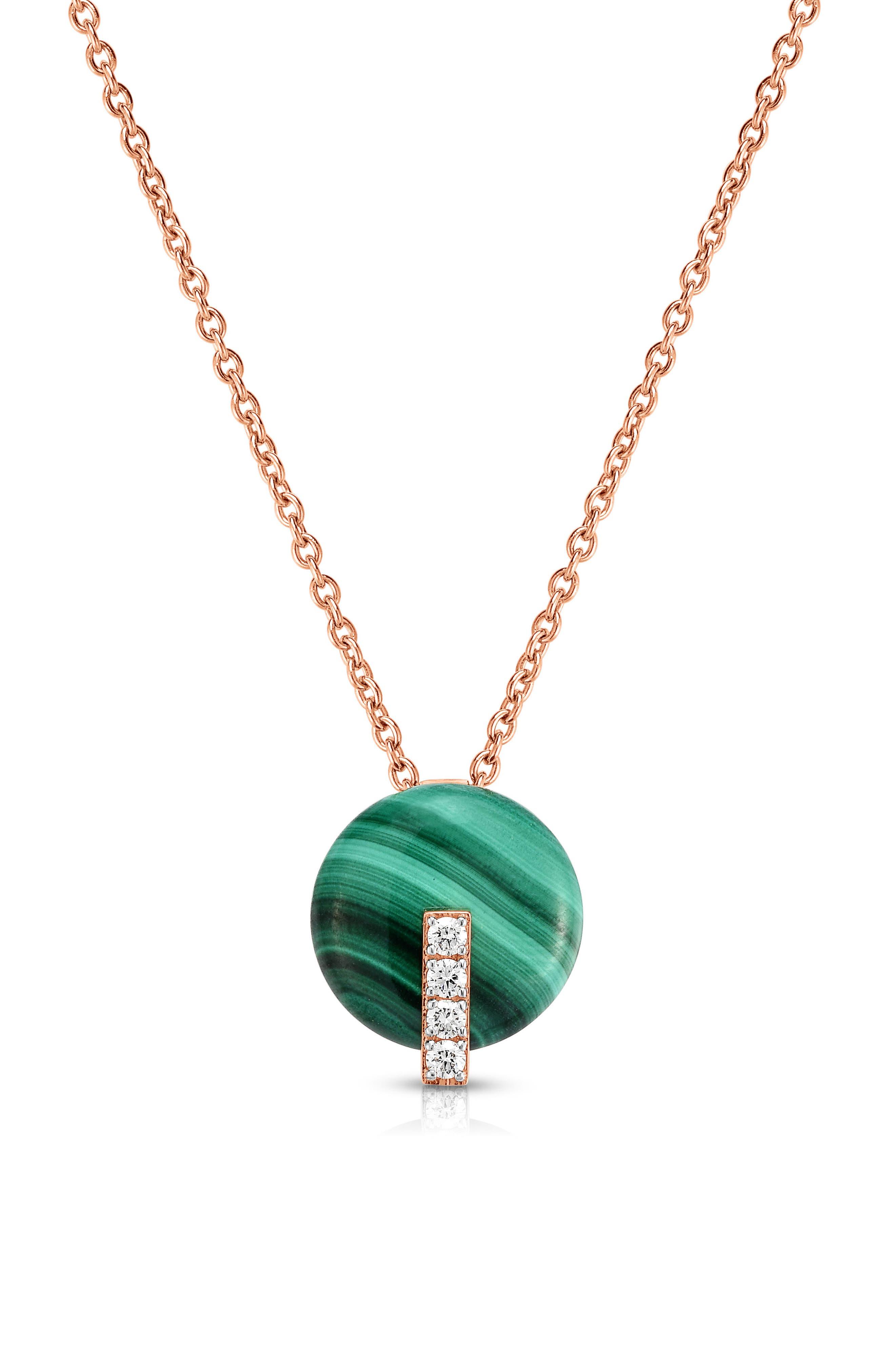 Malachite Diamond Pendant Necklace,                             Main thumbnail 1, color,                             Rose Gold