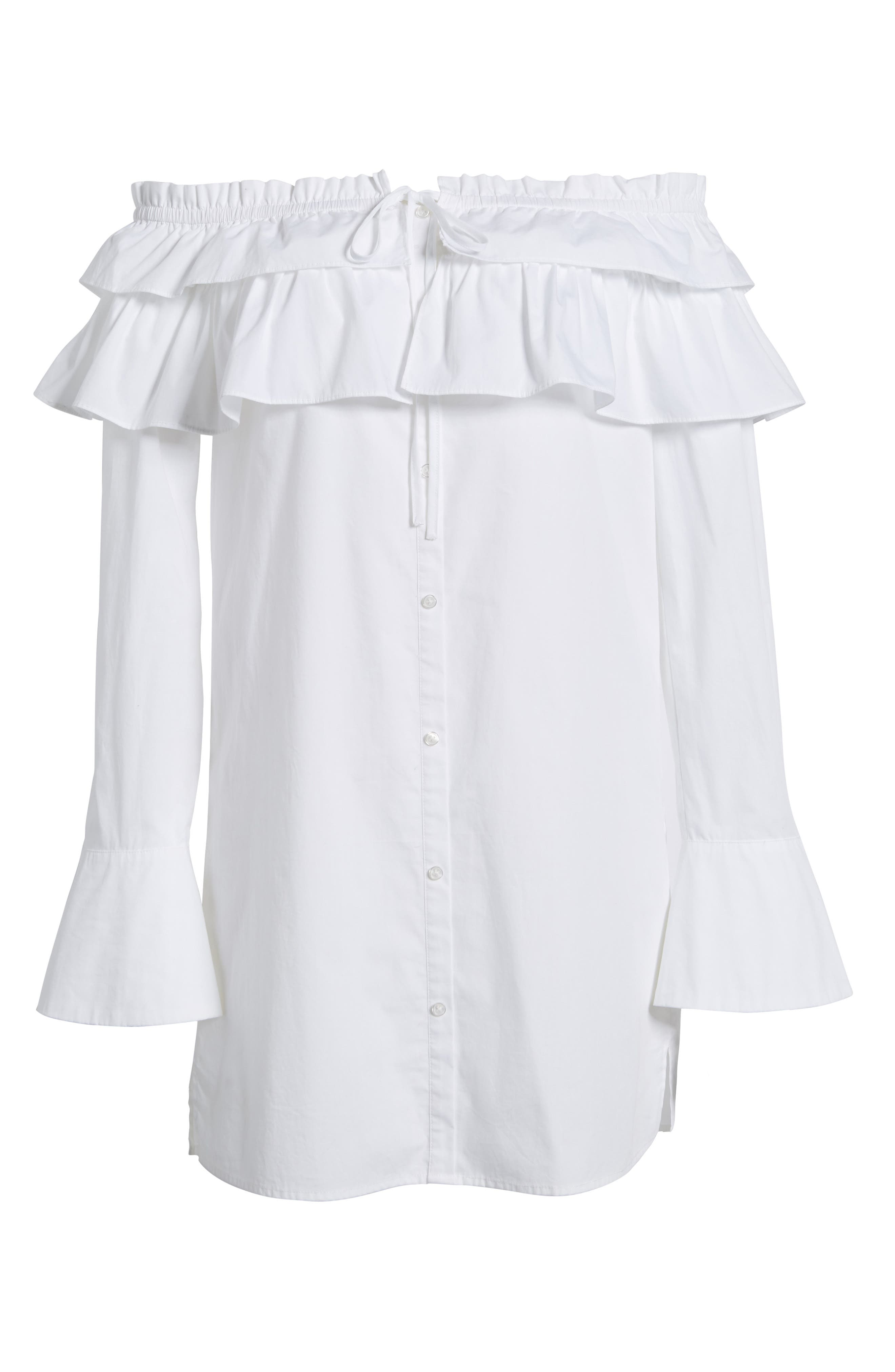 Pallas Off the Shoulder Dress,                             Alternate thumbnail 6, color,                             White