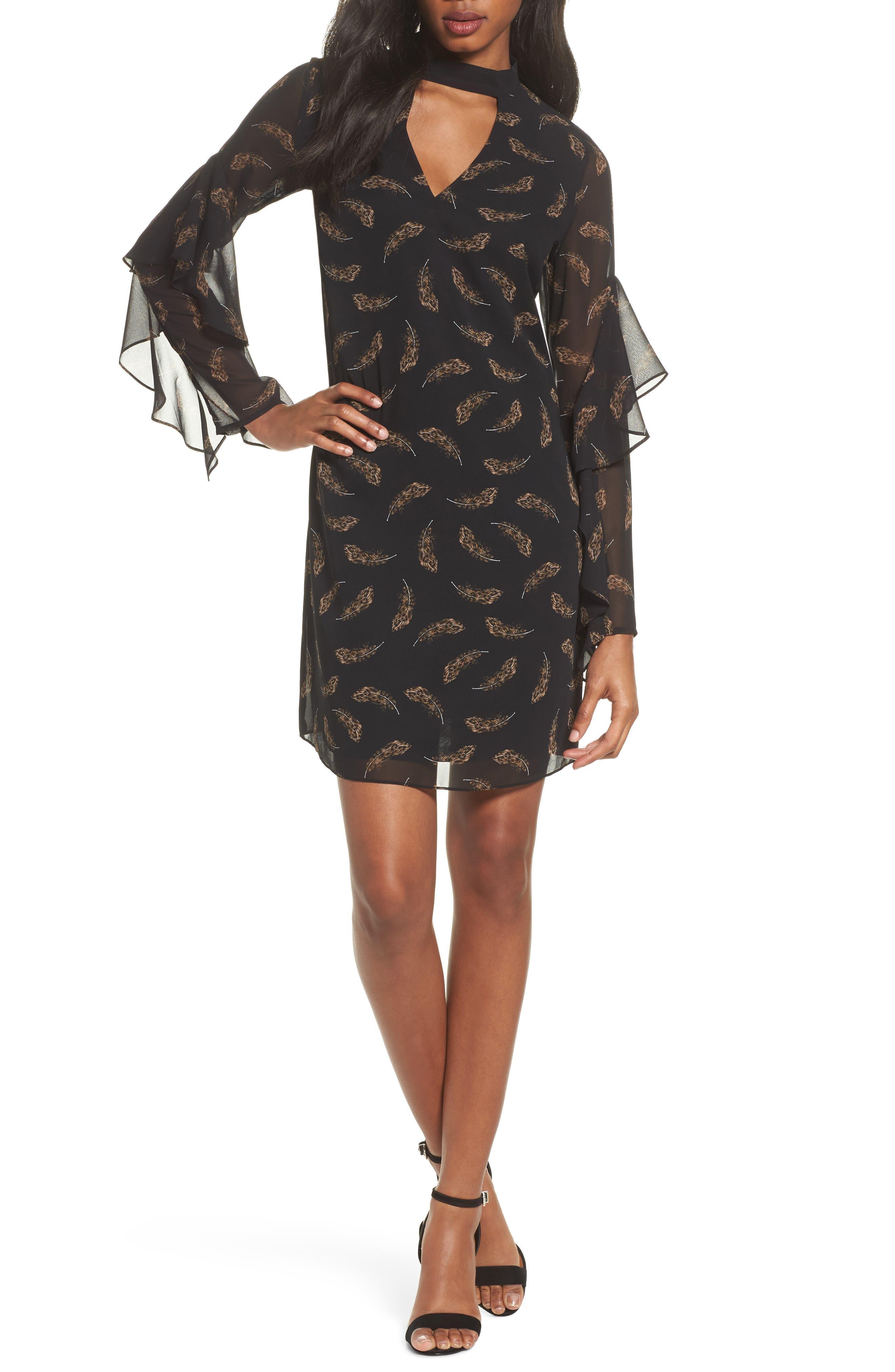 Feather Print Choker Collar Dress,                             Main thumbnail 1, color,                             Leopard Feather