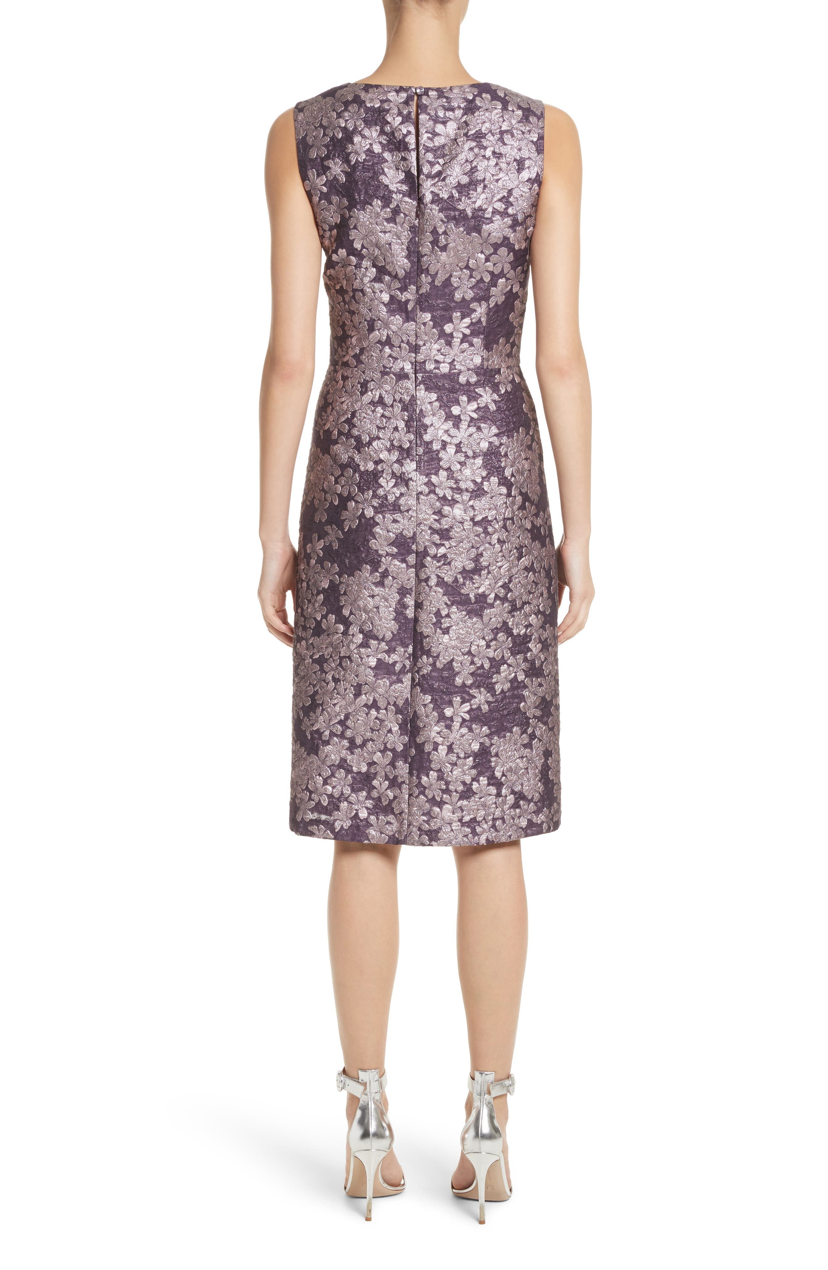 Metallic Floral Jacquard Dress,                             Alternate thumbnail 2, color,                             Orchid Multi