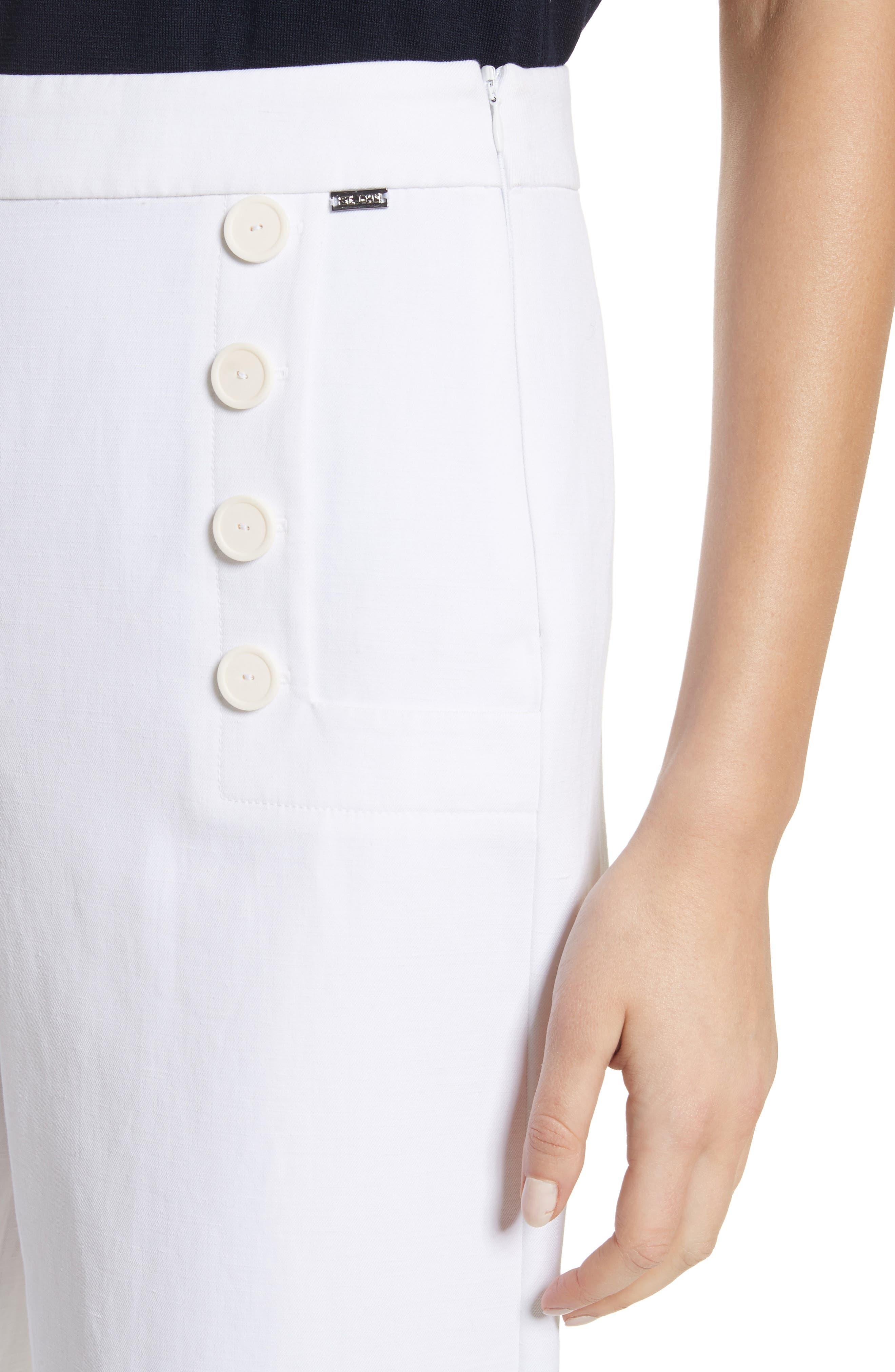 Cotton & Linen Crop Wide Leg Pants,                             Alternate thumbnail 4, color,                             Bianco