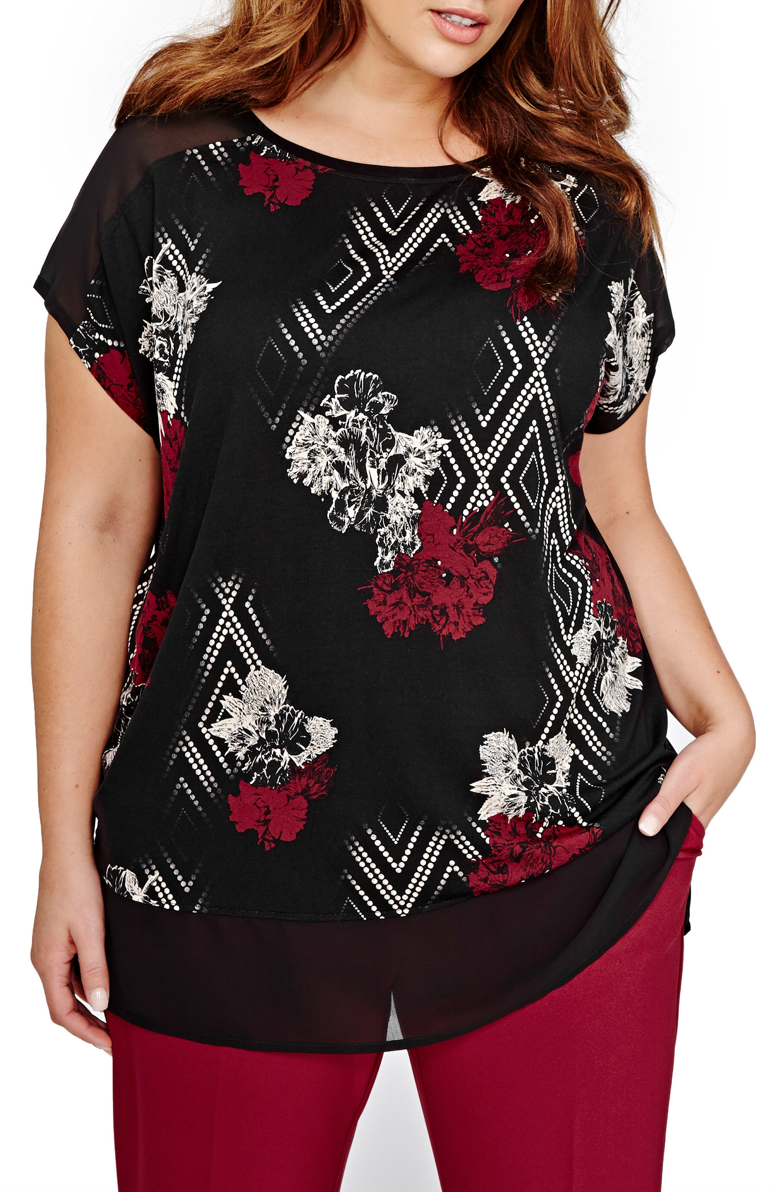 Main Image - Michel Studio Drop Shoulder Mix Media Top (Plus Size)