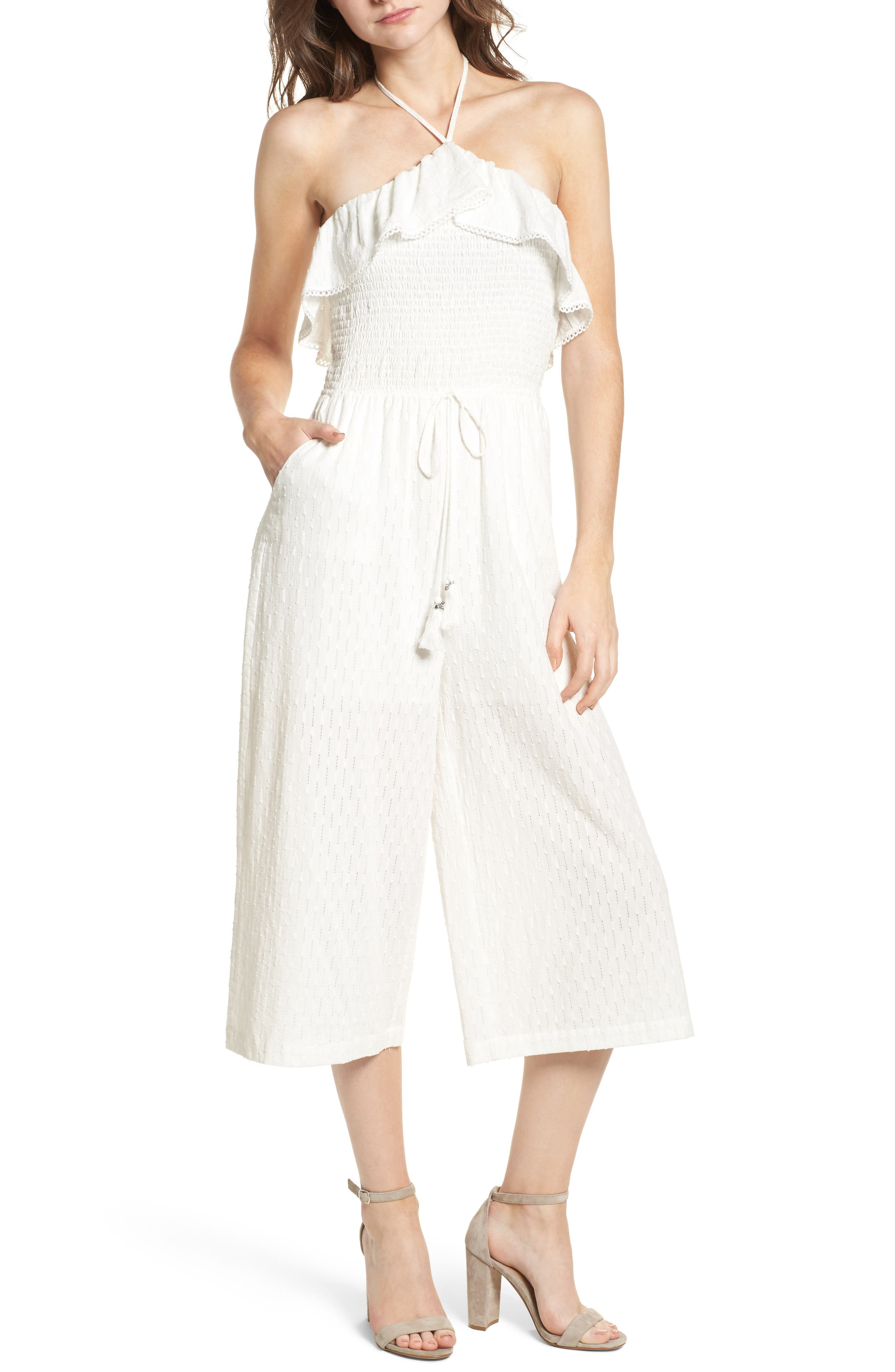 Coco Smocked Ruffle Off the Shoulder Jumpsuit,                             Main thumbnail 1, color,                             White