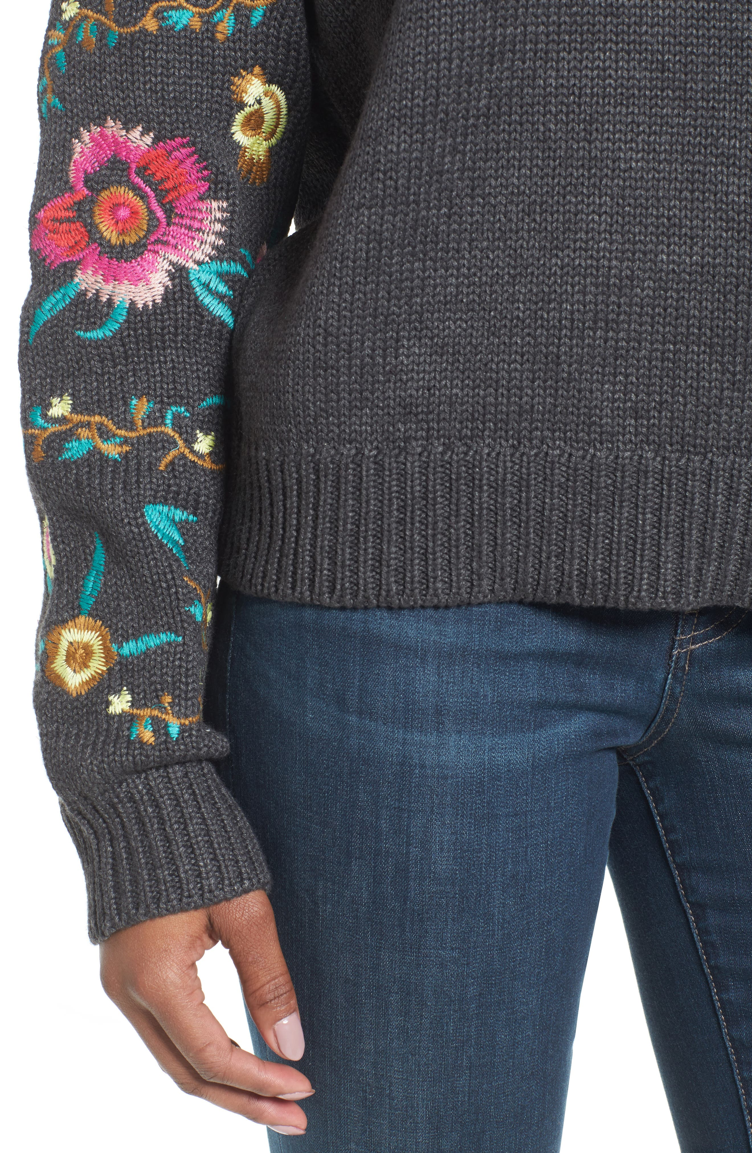 Floral Sleeve Sweater,                             Alternate thumbnail 4, color,                             Grey