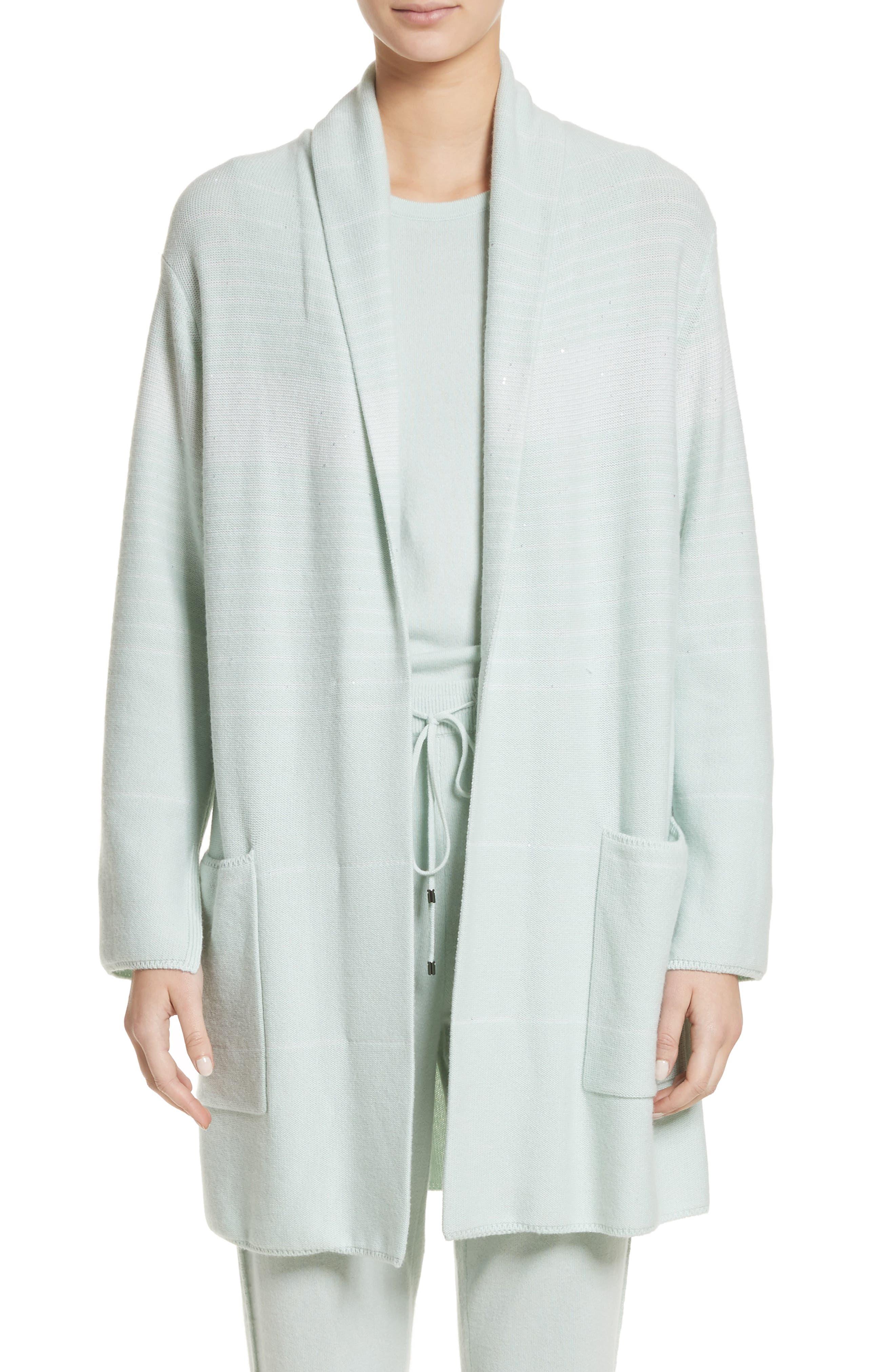 Sequin Cashmere & Silk Cardigan,                             Main thumbnail 1, color,                             Mint/ Cream