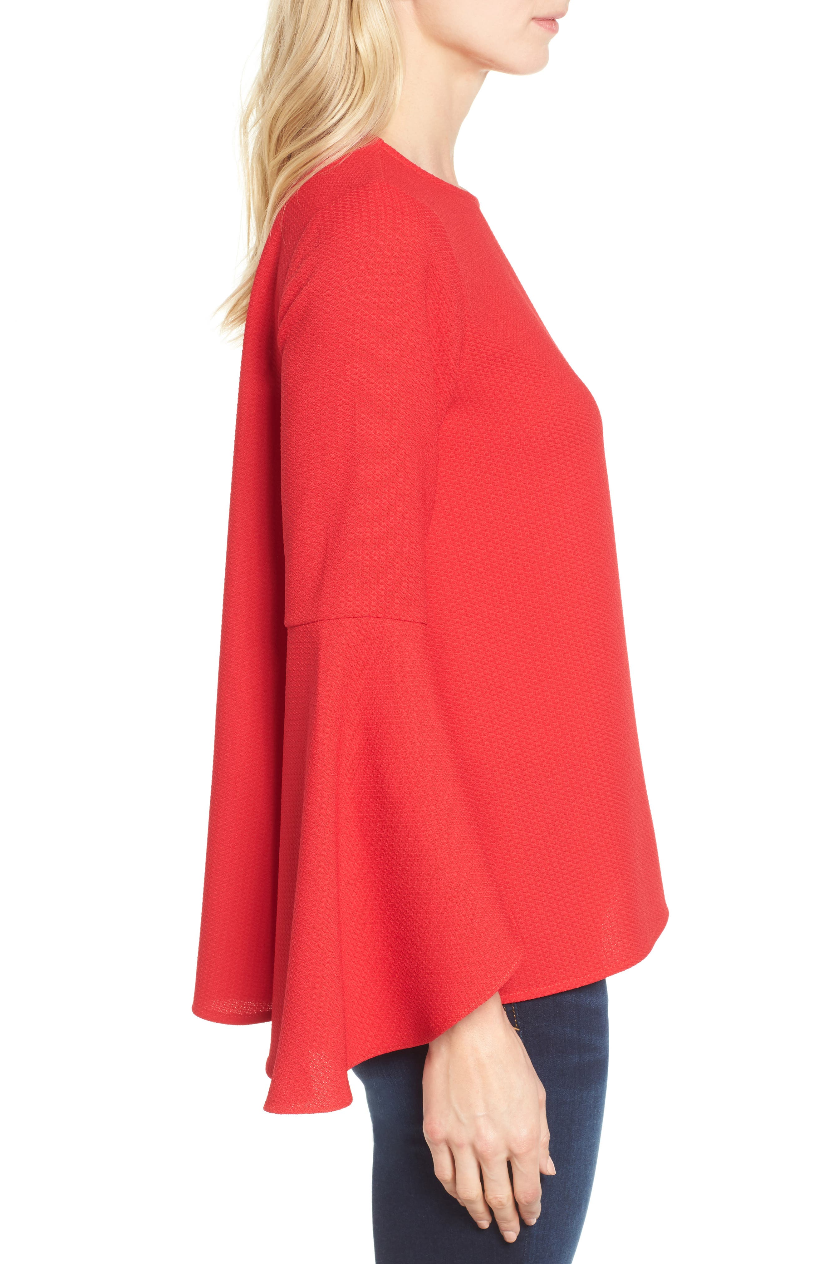 Bell Sleeve Top,                             Alternate thumbnail 3, color,                             Red Pepper