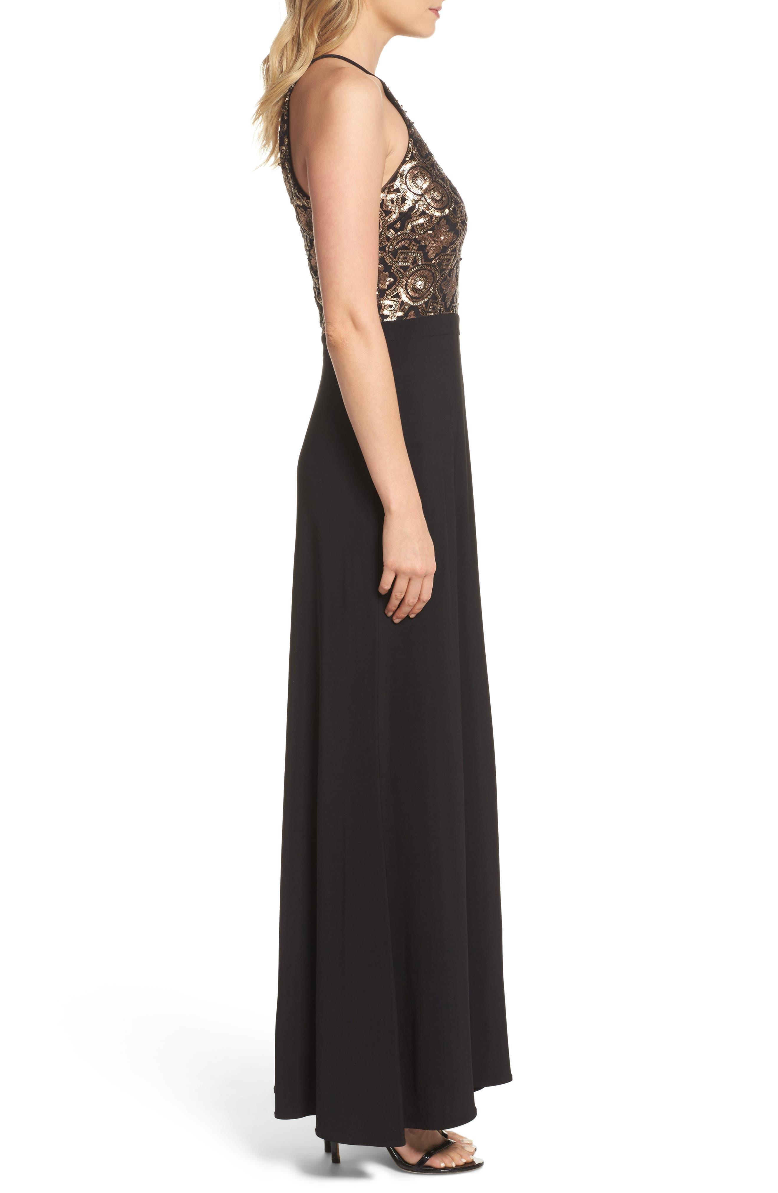 Sequin Cutout Bodice Gown,                             Alternate thumbnail 4, color,                             Black/ Gold