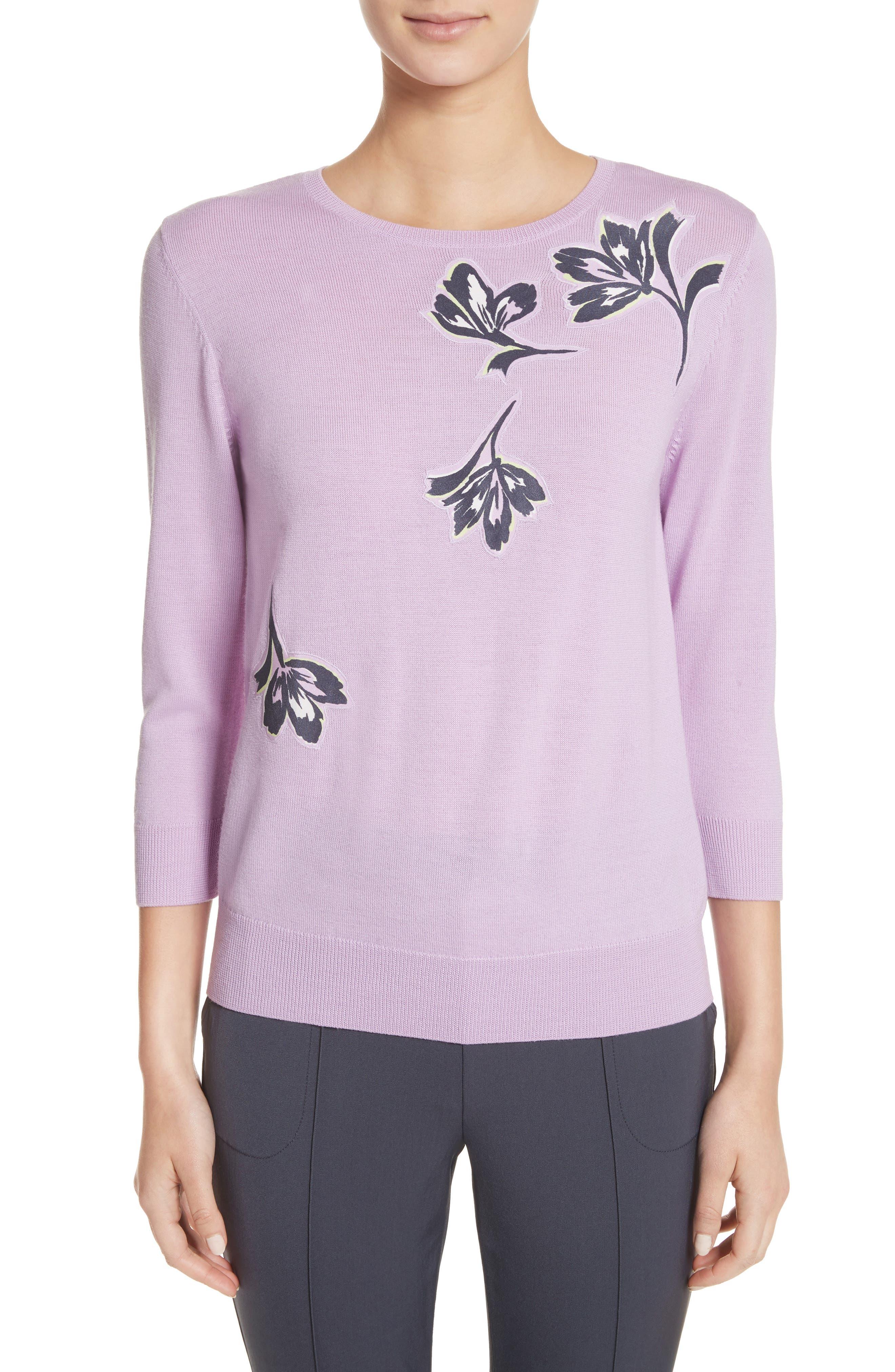 Floral Appliqué Wool Sweater,                         Main,                         color, Orchid Multi