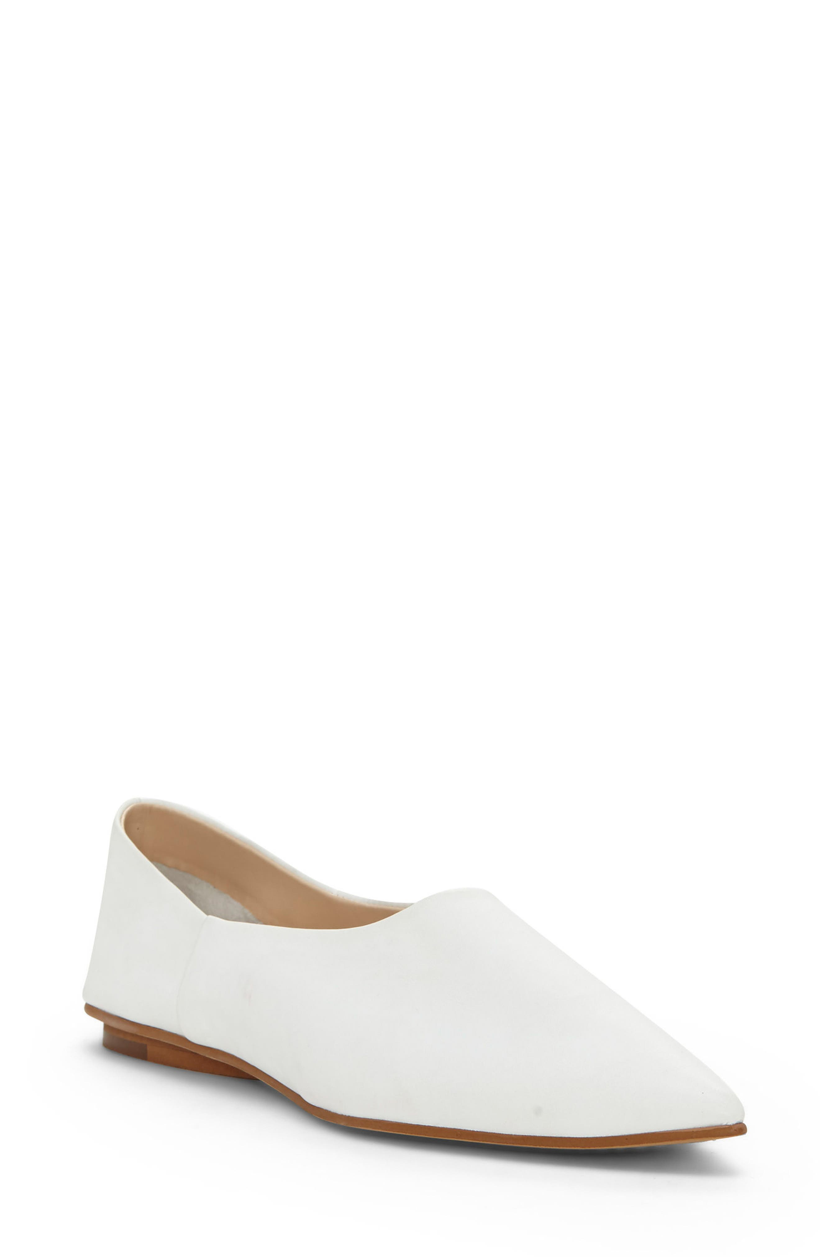Stanta Pointy Toe Flat,                             Main thumbnail 1, color,                             Pure White Leather