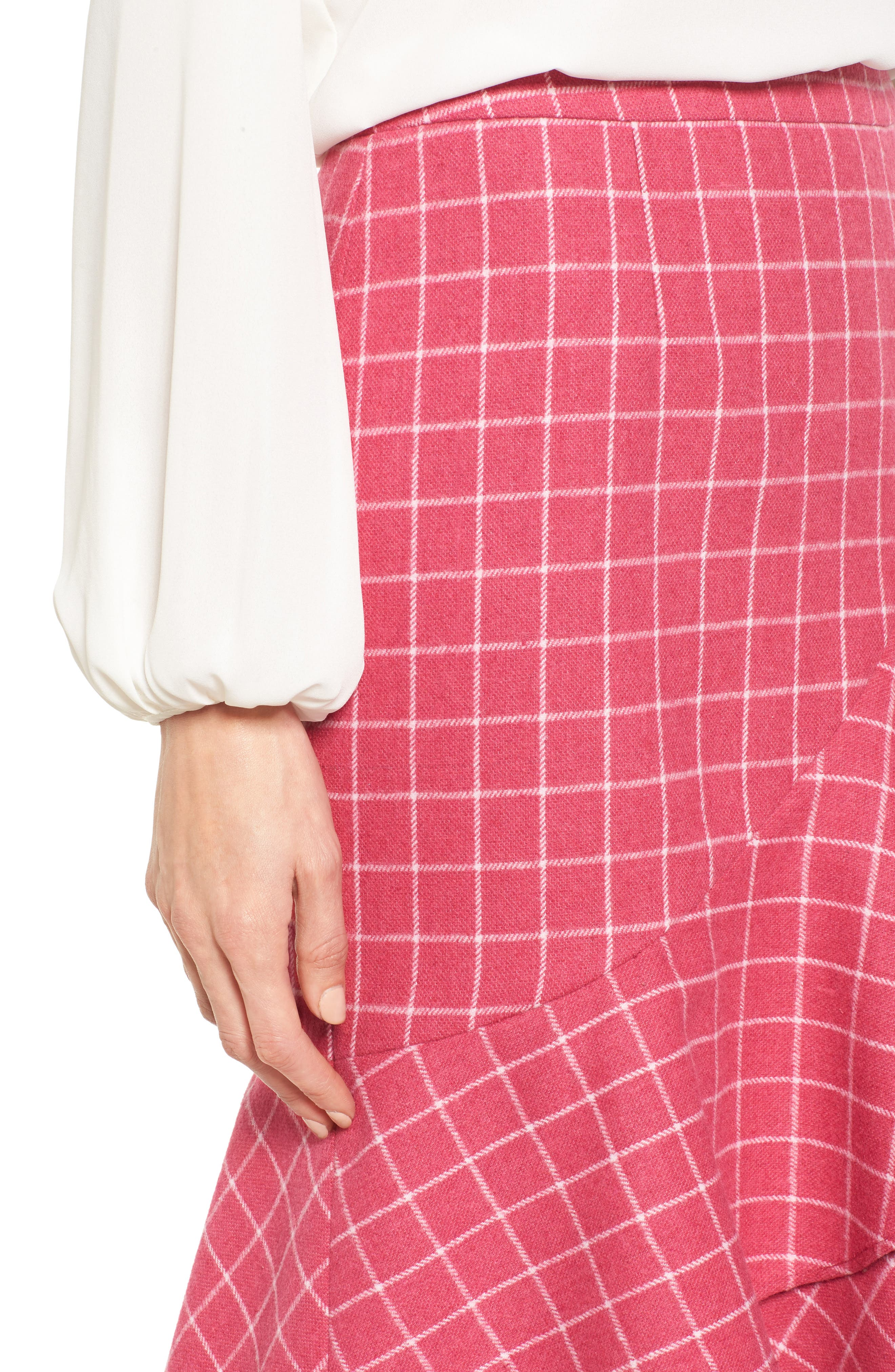 Windowpane Print Ruffle Skirt,                             Alternate thumbnail 4, color,                             Pink Windowpane