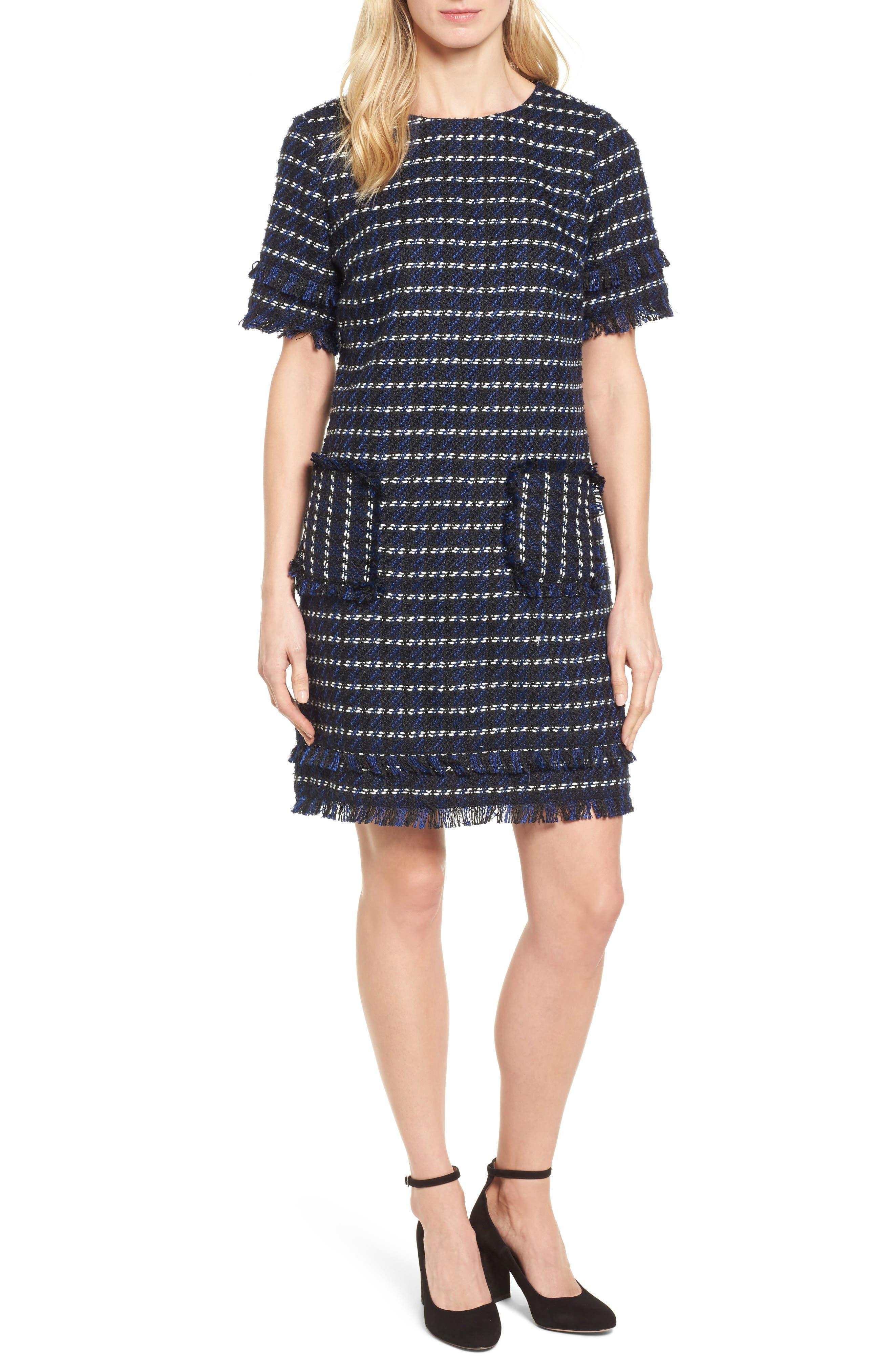 Fringe Tweed Dress,                             Main thumbnail 1, color,                             Black- Navy Tweed