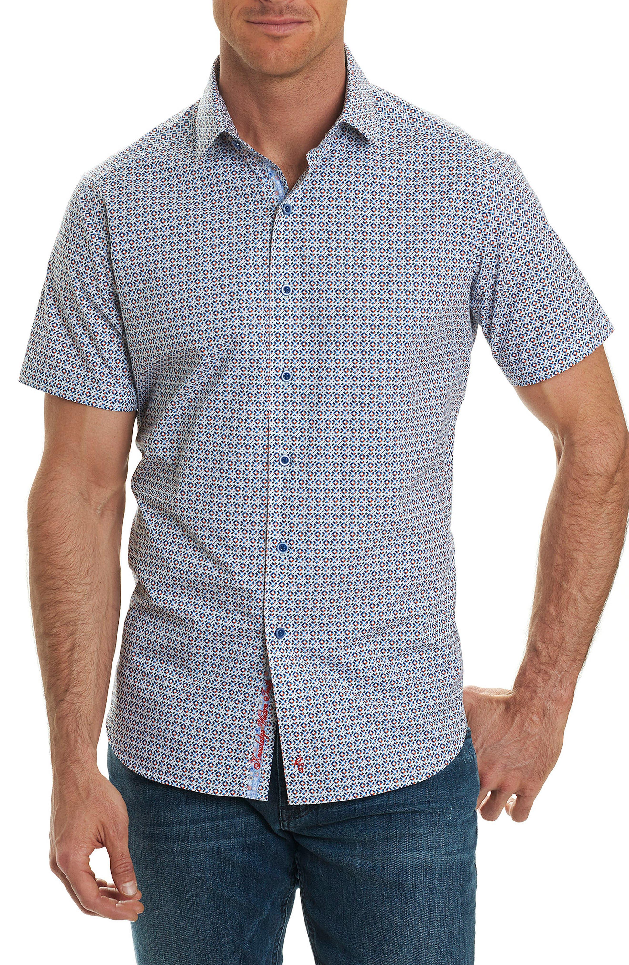 Taverse Geo Print Sport Shirt,                         Main,                         color, Blue