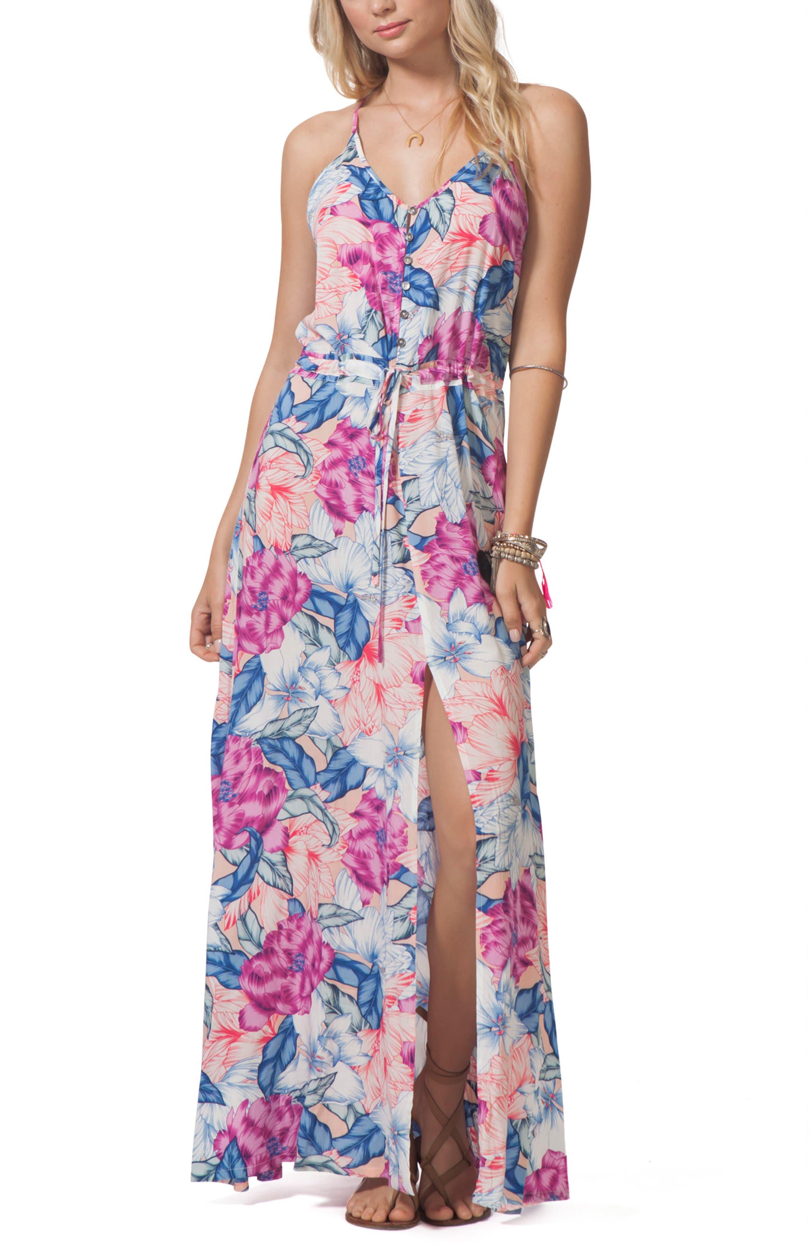 Floral Print Maxi Dress,                         Main,                         color, Multi