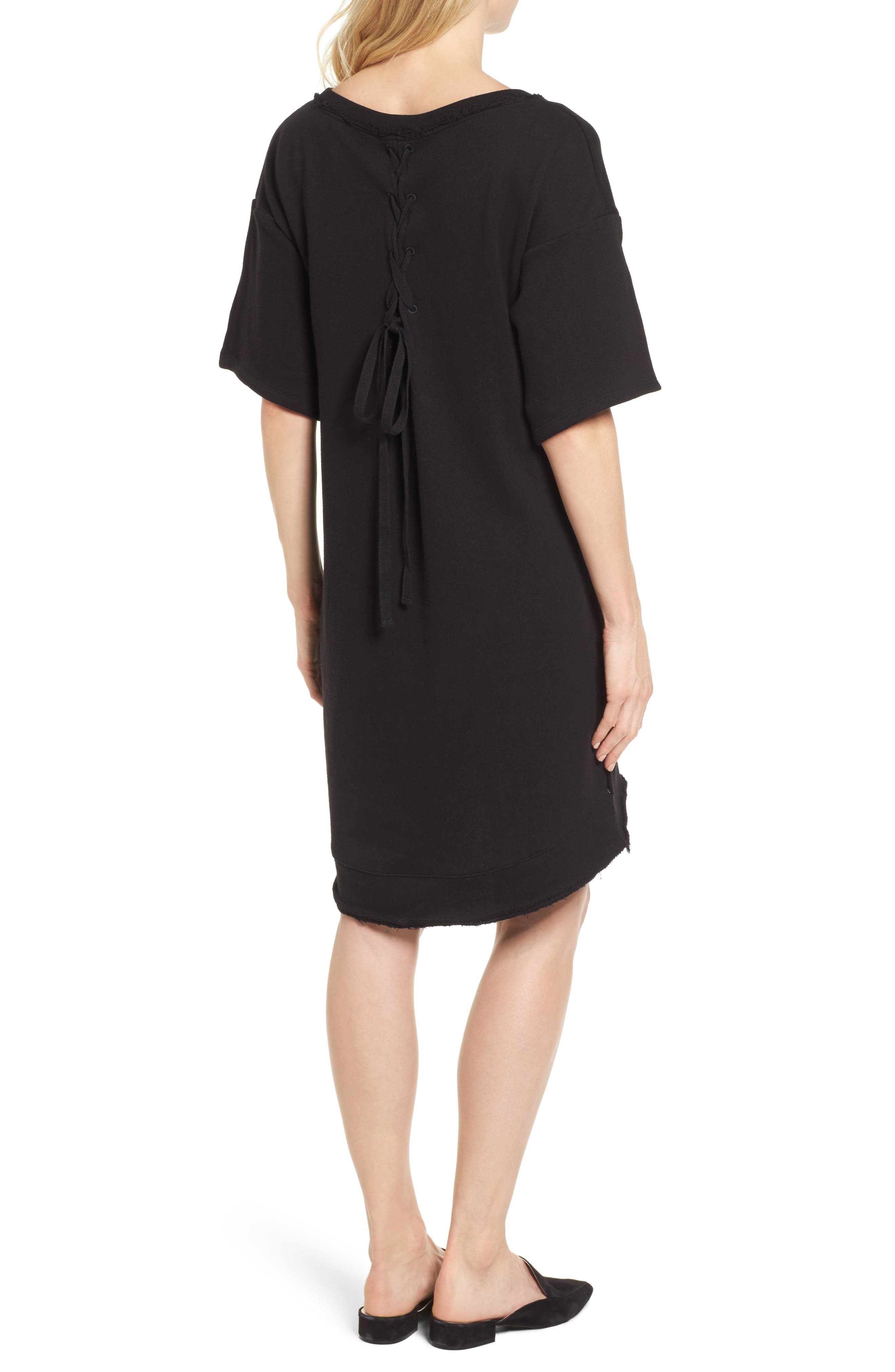 Lace-Up T-Shirt Dress,                             Alternate thumbnail 2, color,                             Black