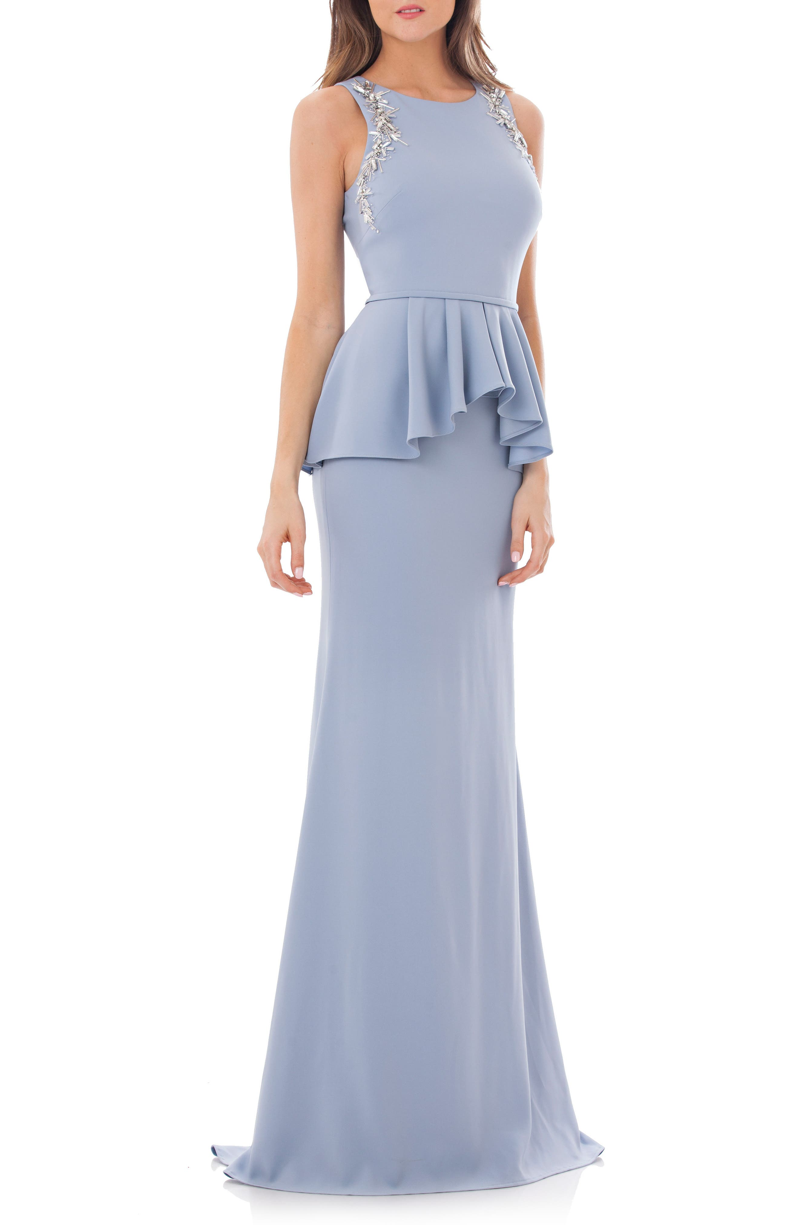Embellished Peplum Waist Crepe Gown,                         Main,                         color, French Blue