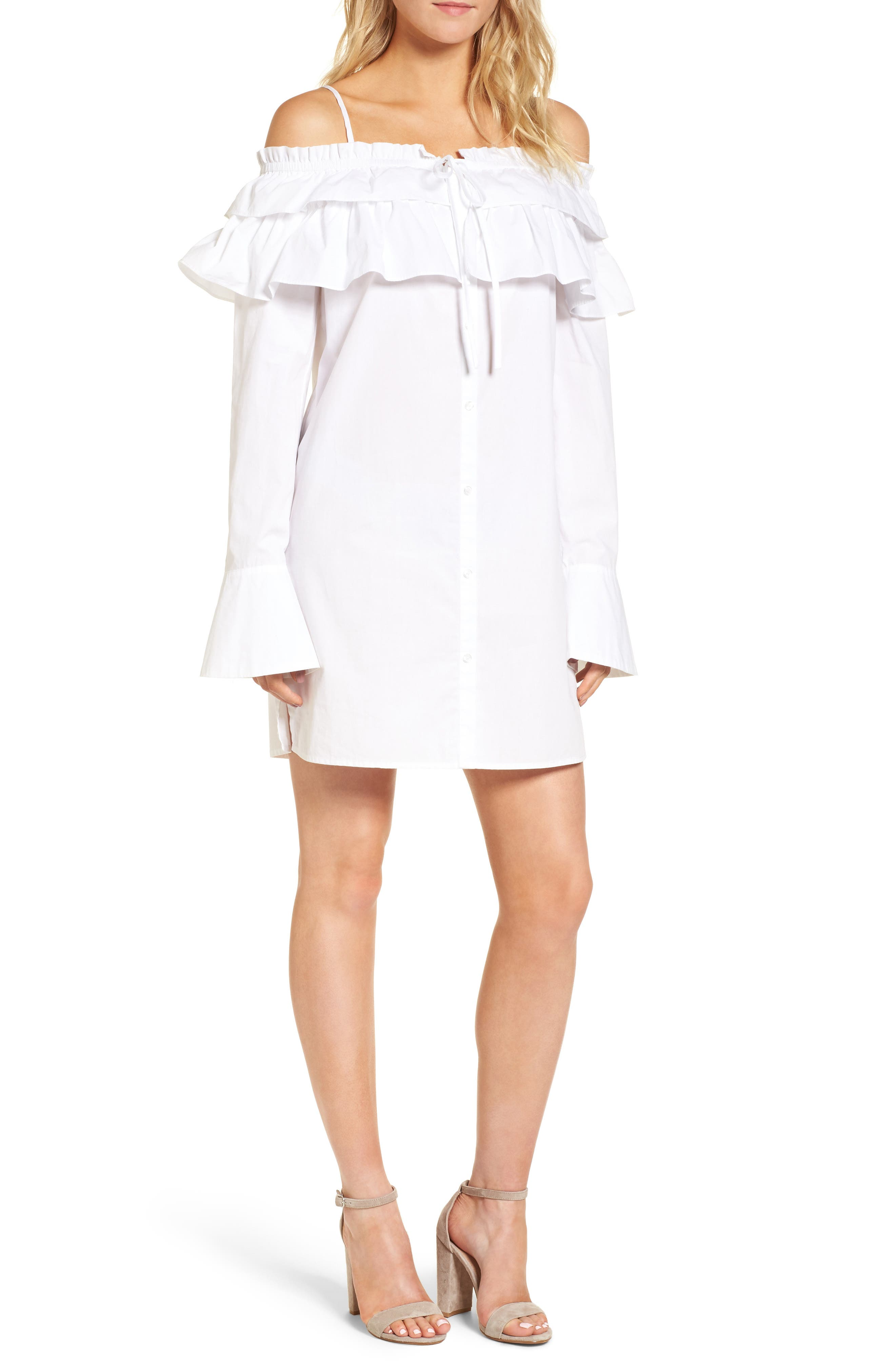 Pallas Off the Shoulder Dress,                         Main,                         color, White
