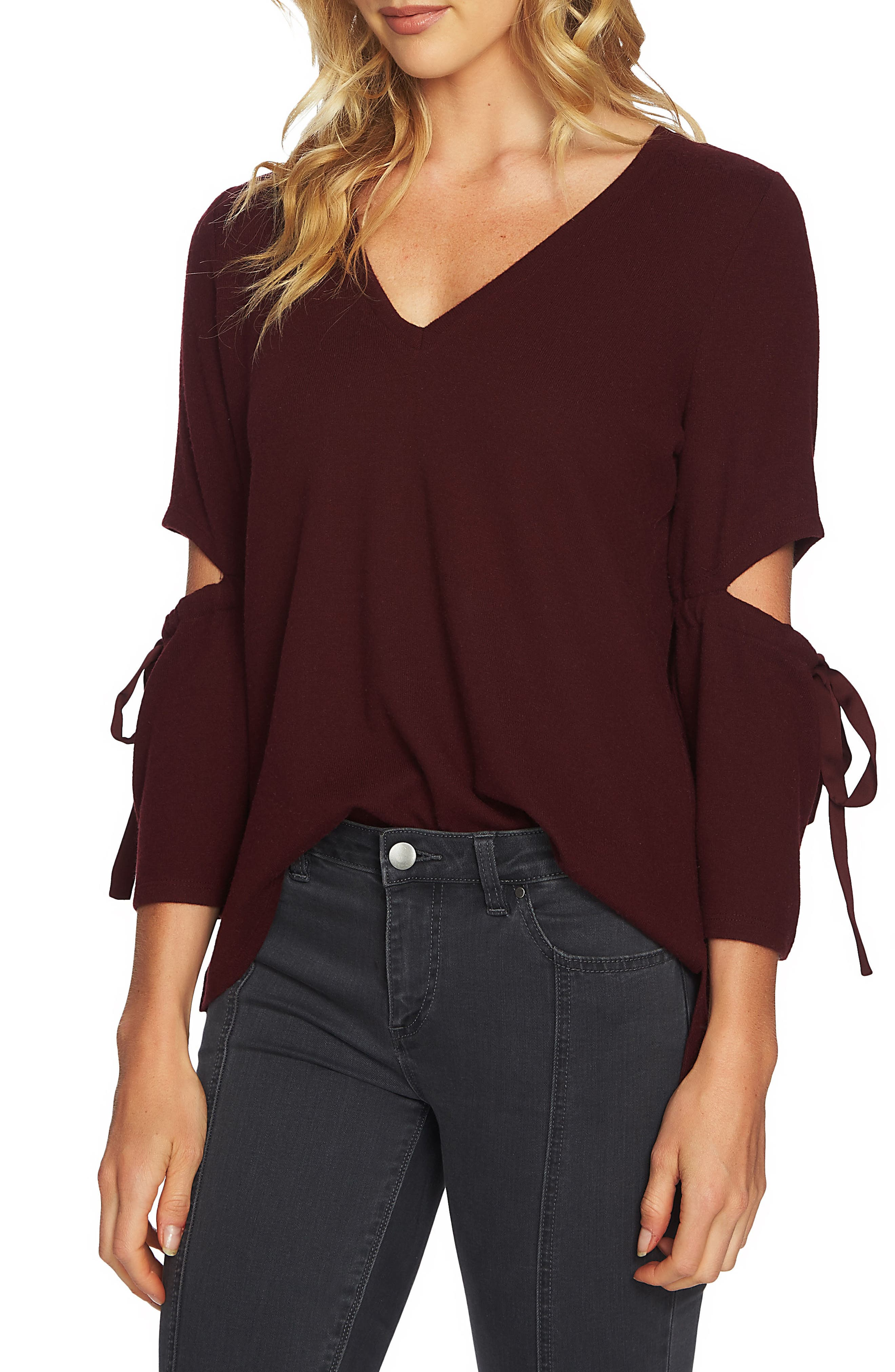 1.STATE Cozy Slit Sleeve Top